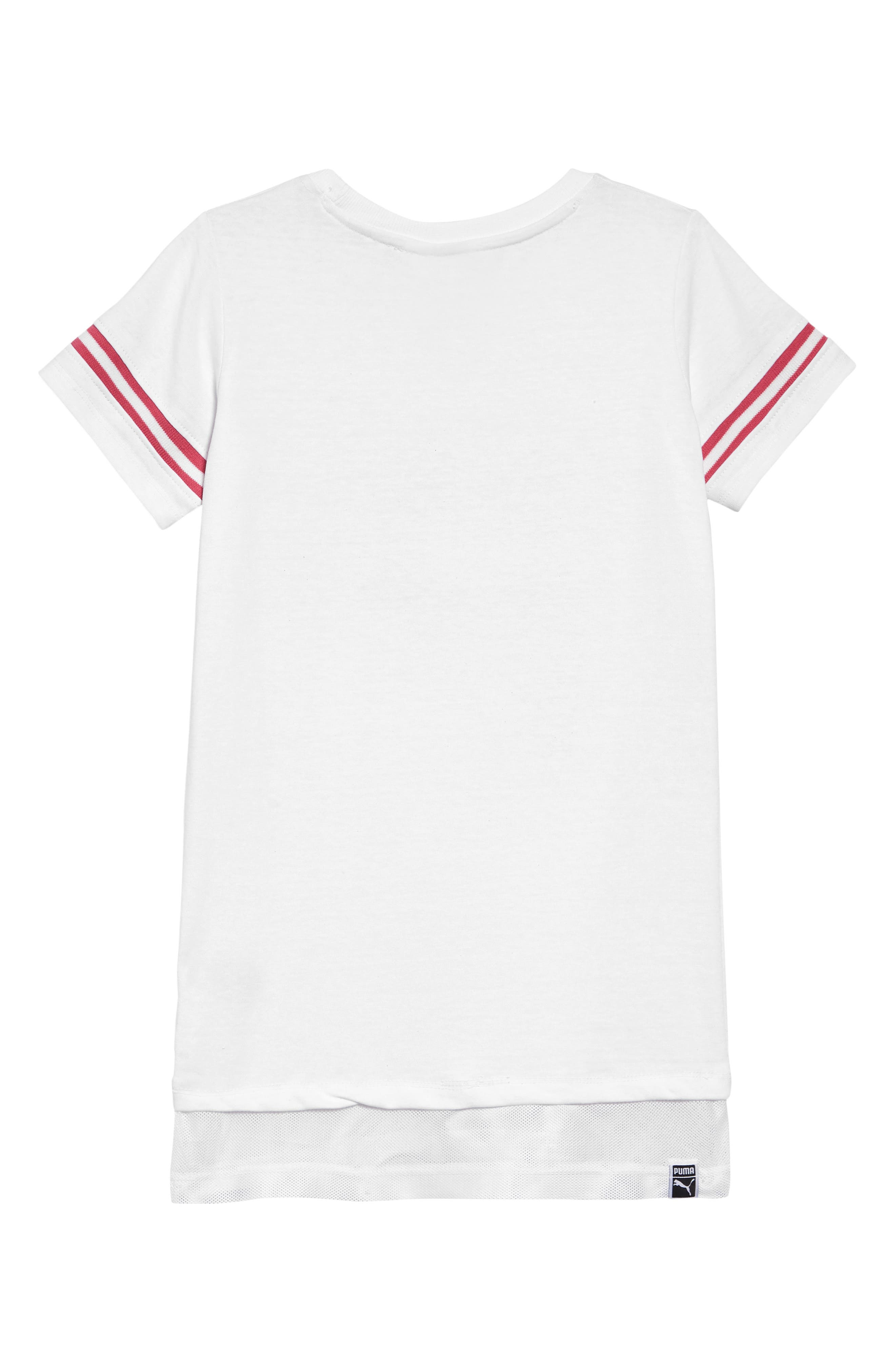 PUMA, Glitter Logo T-Shirt Dress, Alternate thumbnail 2, color, PUMA WHITE