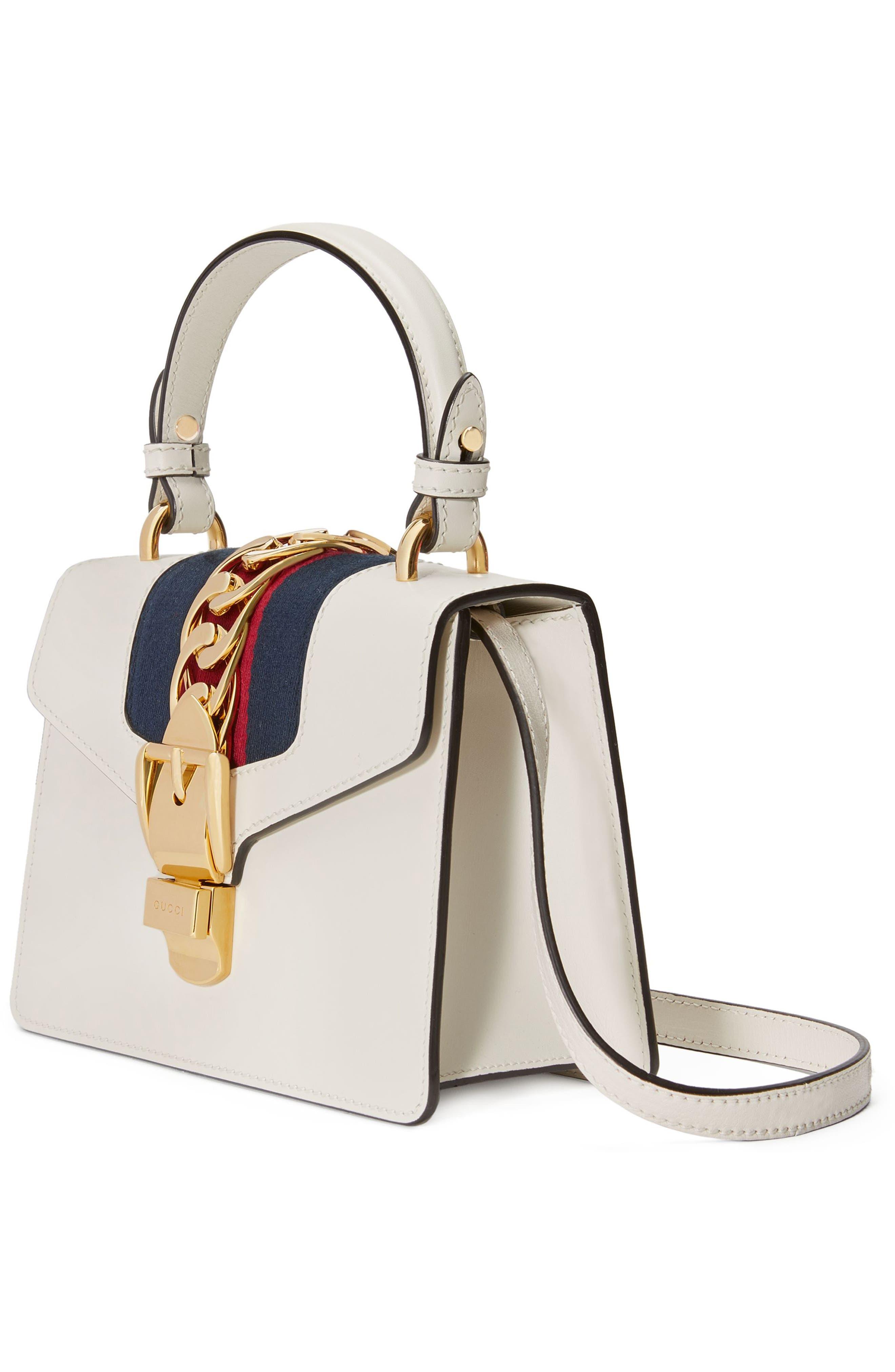 GUCCI, Mini Sylvie Top Handle Leather Shoulder Bag, Alternate thumbnail 4, color, MYSTIC WHITE
