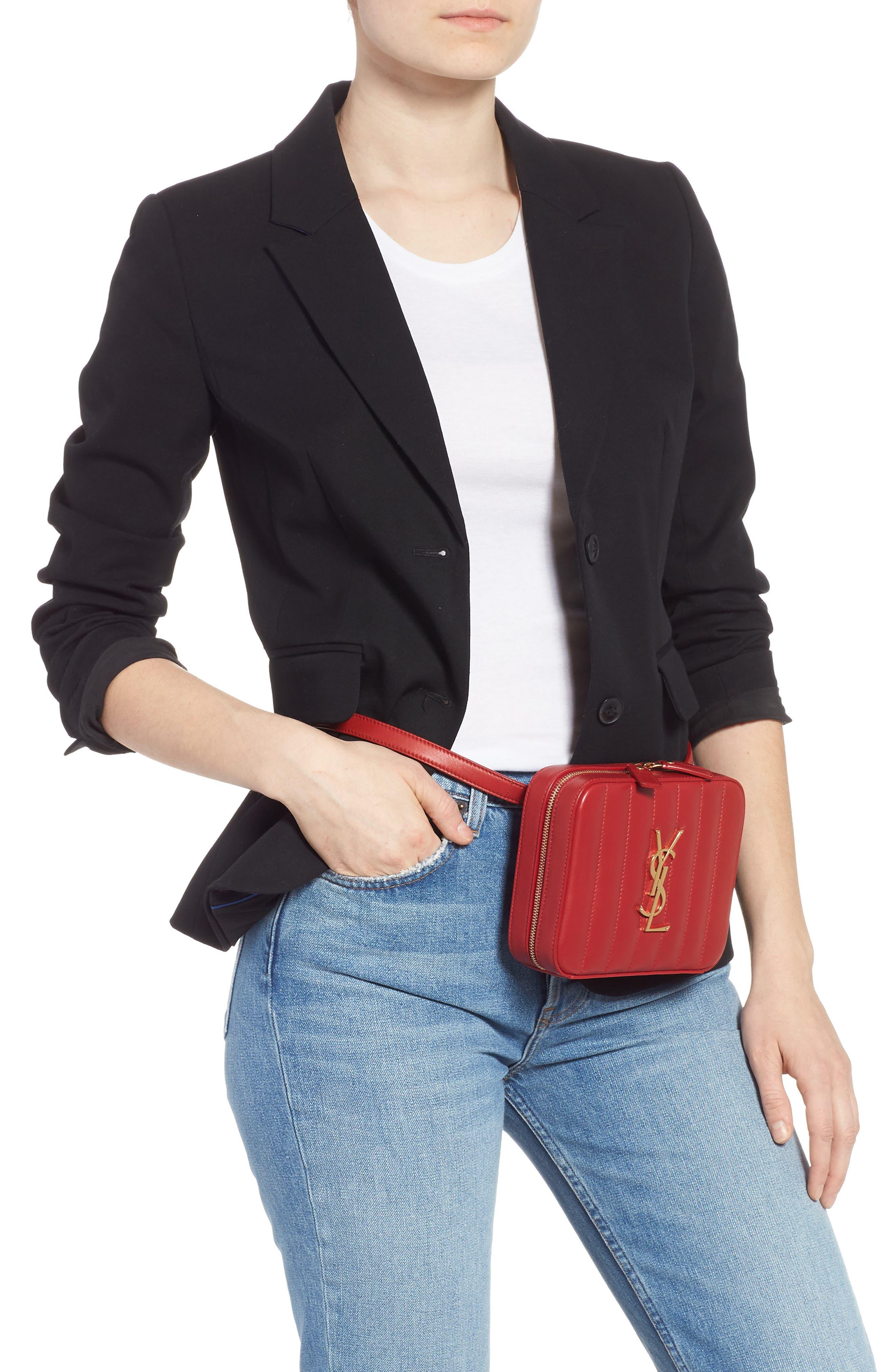 SAINT LAURENT, Vicky Lambskin Leather Belt Bag, Alternate thumbnail 2, color, ROUGE EROS