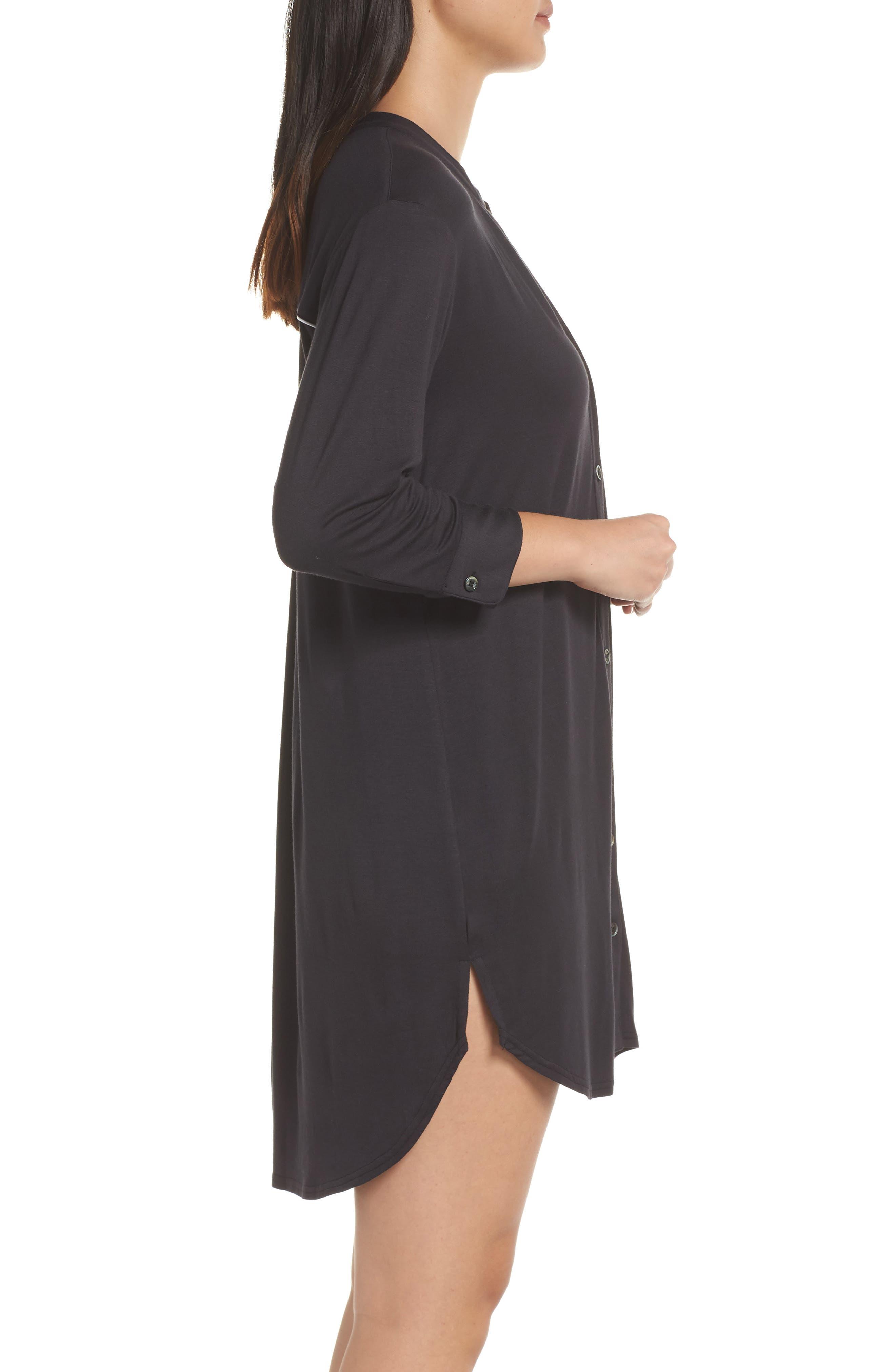 UGG<SUP>®</SUP>, Vivian Sleep Shirt, Alternate thumbnail 3, color, BLACK