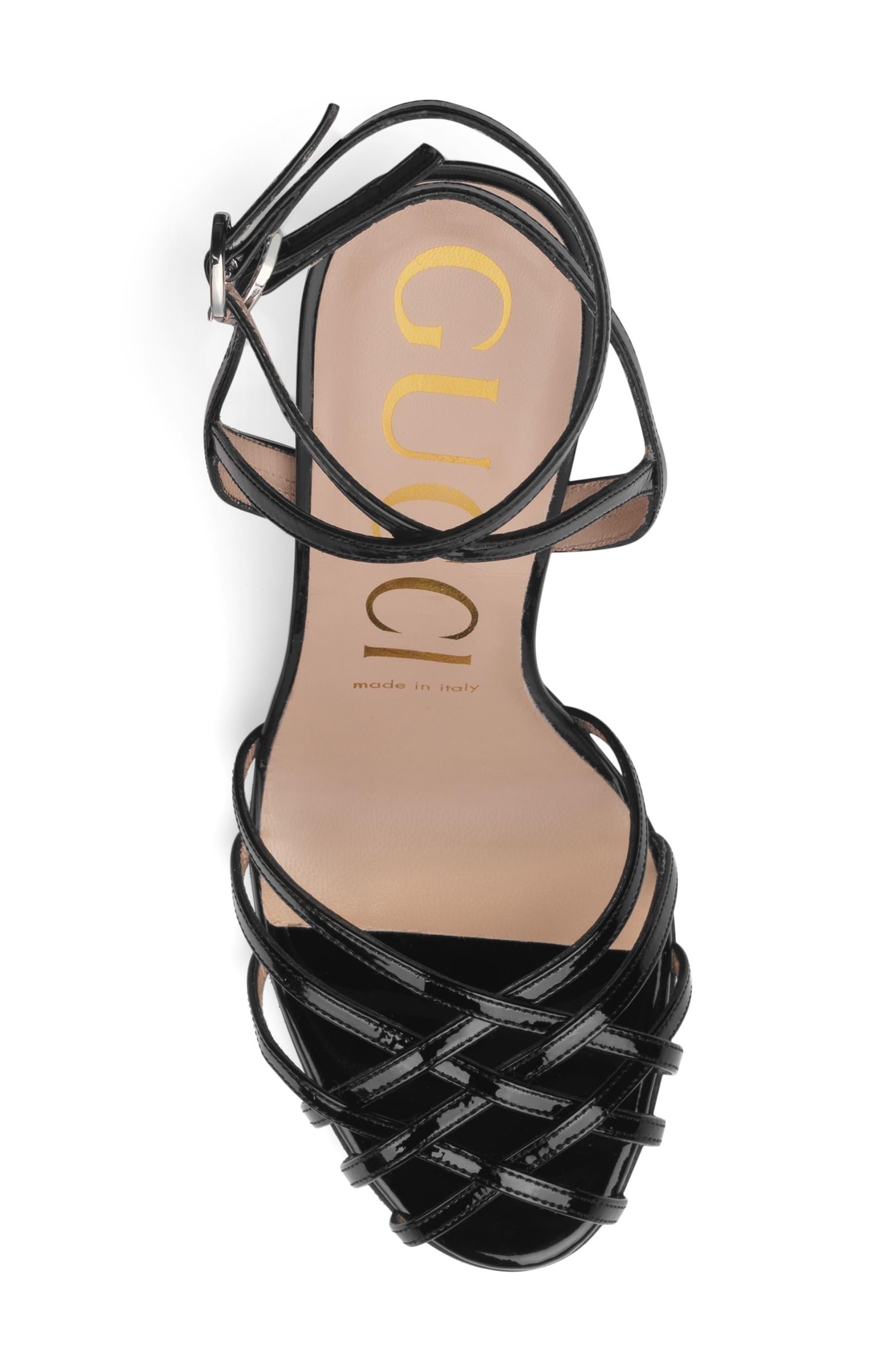 GUCCI, Draconia Ankle Strap Sandal, Alternate thumbnail 5, color, BLACK