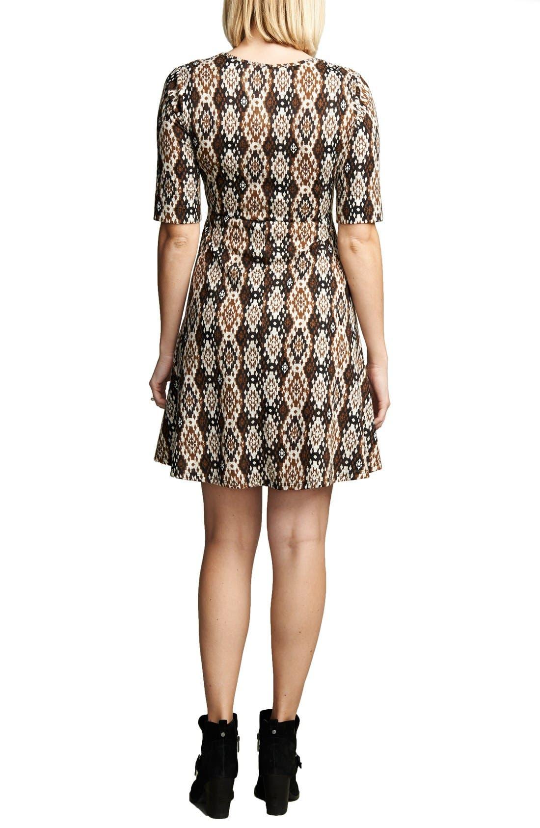MATERNAL AMERICA, Print Tie Front Maternity Dress, Main thumbnail 1, color, IKAT PRINT