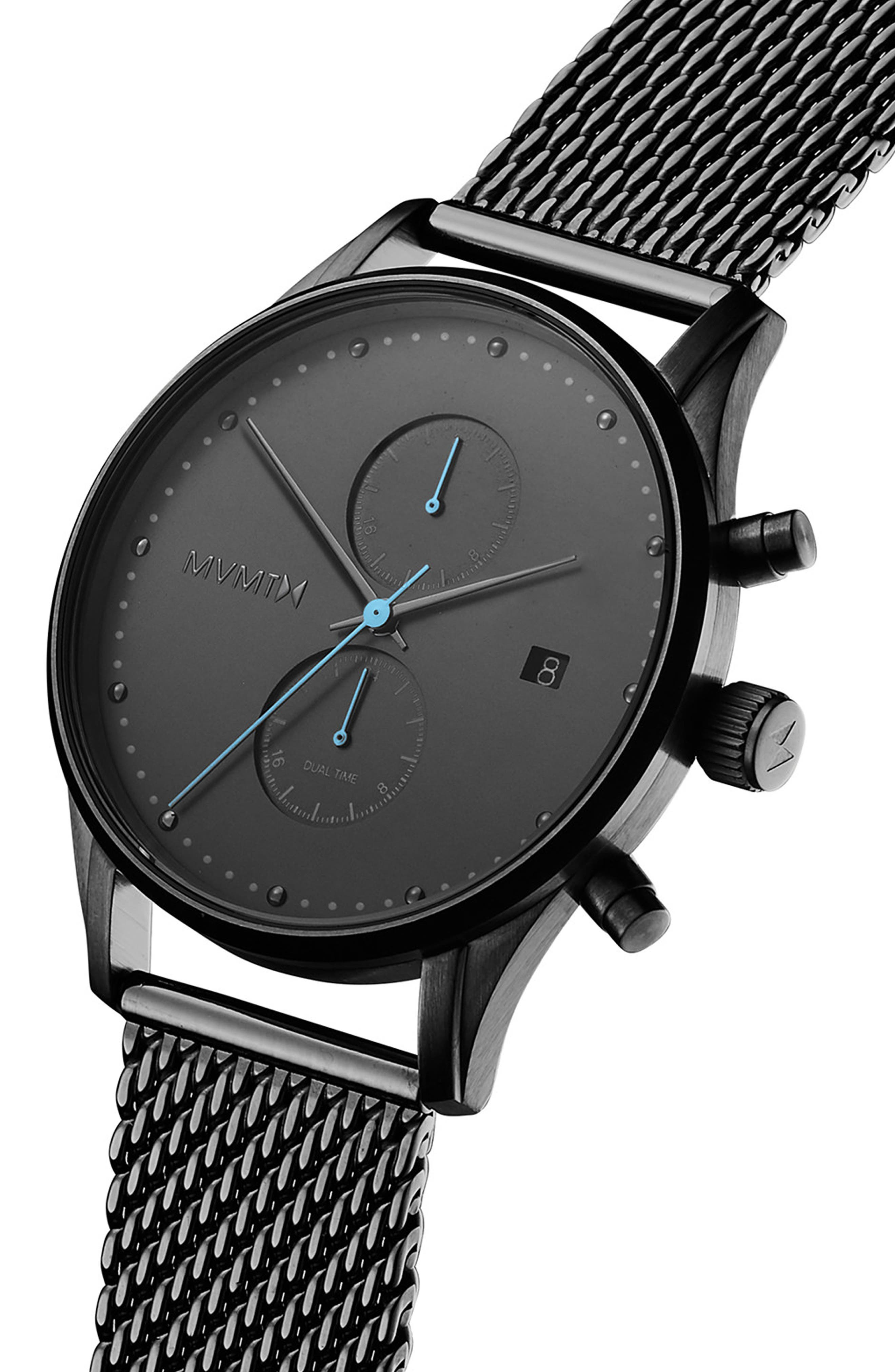 MVMT, Cascade Mesh Strap Watch, 42mm, Alternate thumbnail 3, color, BLACK/ GUNMETAL