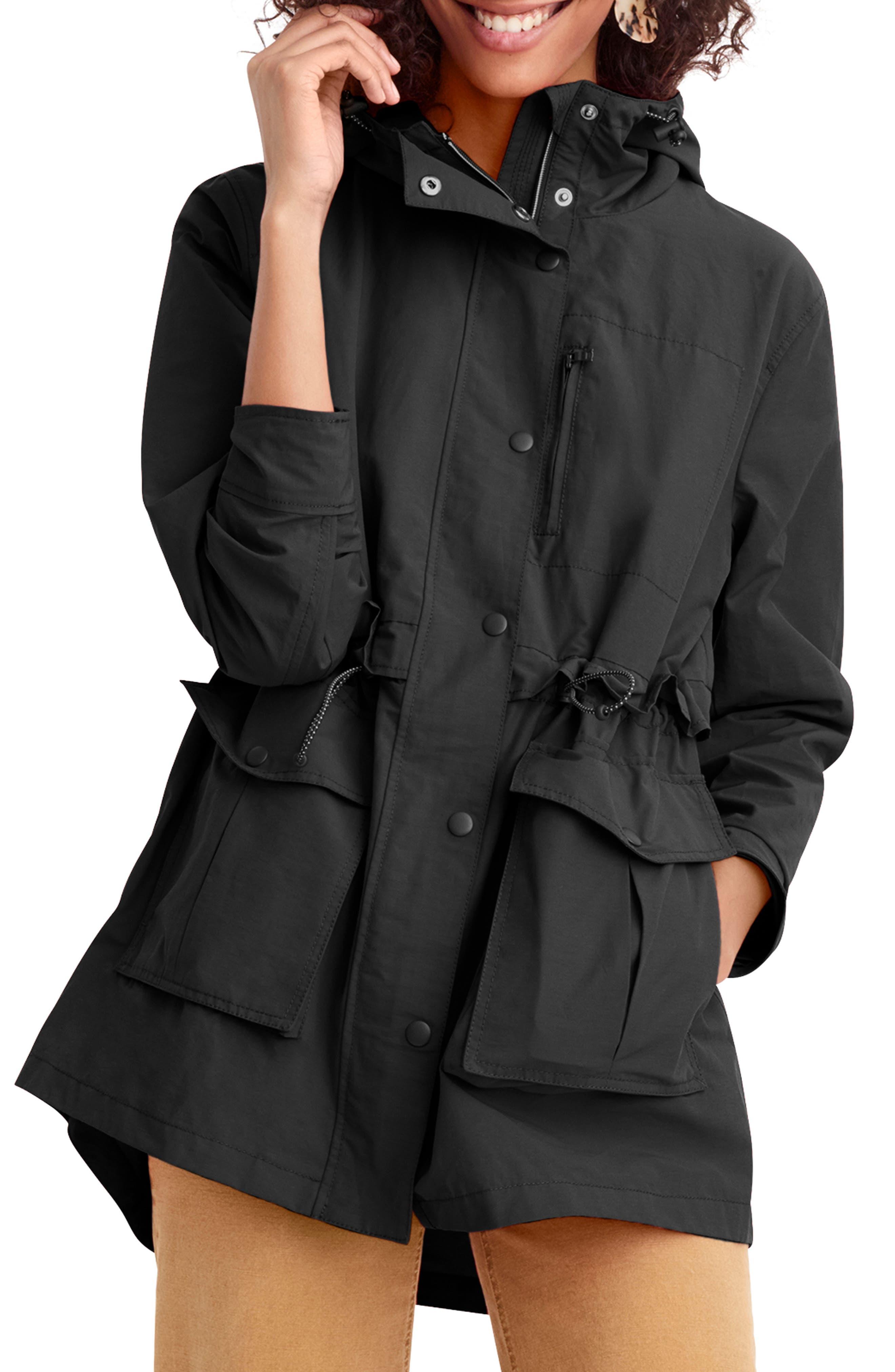 J.CREW Perfect Raincoat, Main, color, BLACK