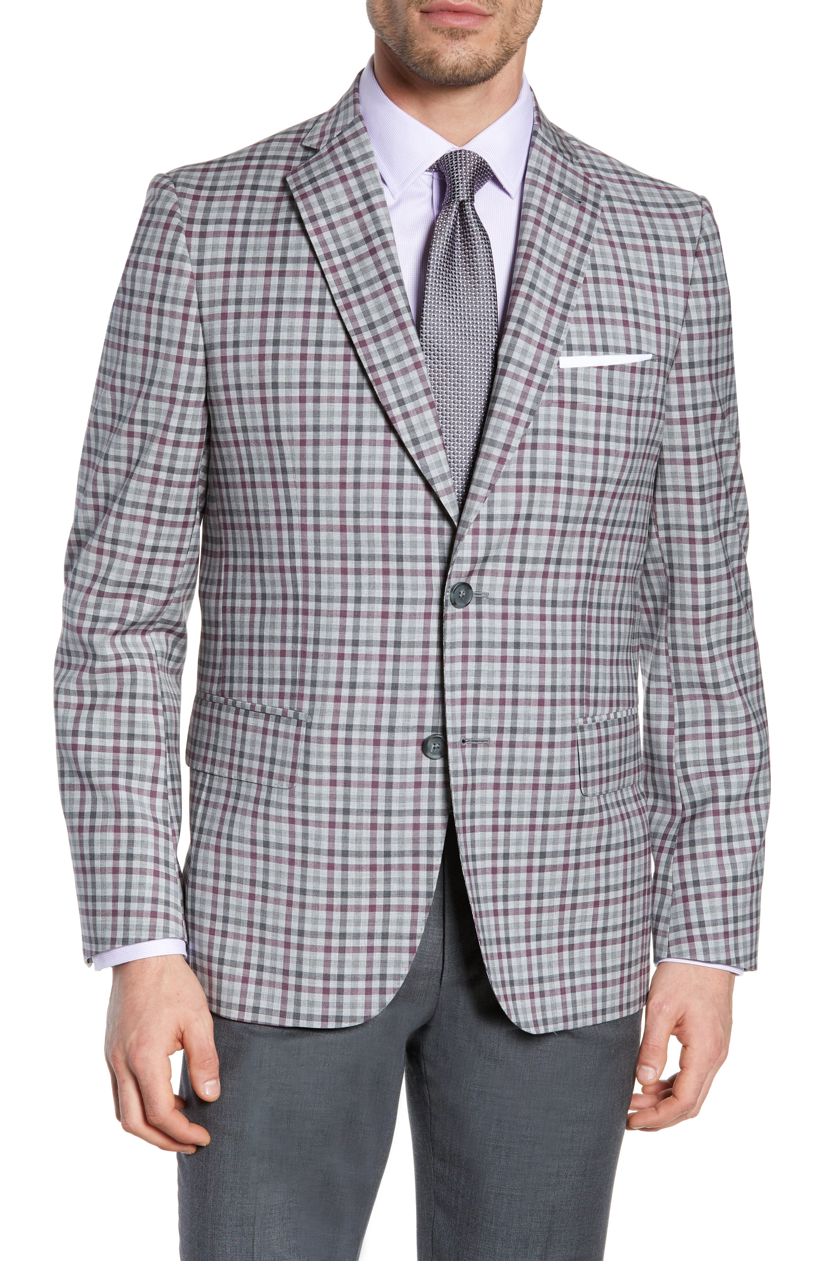 JOHN W. NORDSTROM<SUP>®</SUP>, Traditional Fit Check Sport Coat, Main thumbnail 1, color, GREY ALLOY BURGUNDY PLAID