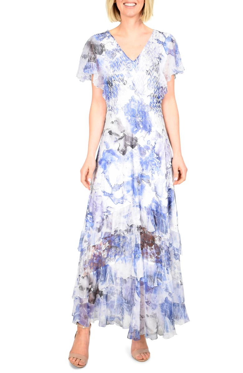 KOMAROV Floral Charmeuse & Chiffon Maxi Dress, Main, color, INDIGO HAZE
