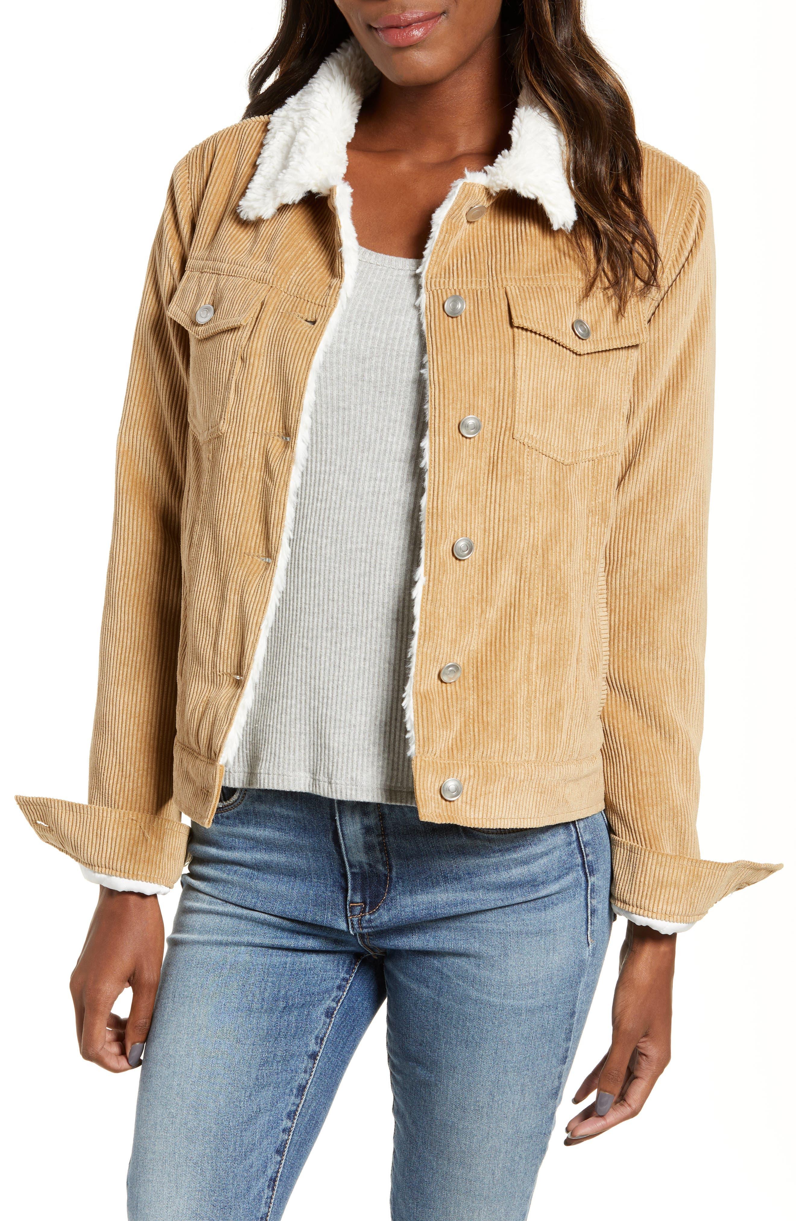 THREAD & SUPPLY Paddington Fleece Lined Corduroy Jacket, Main, color, KHAKI