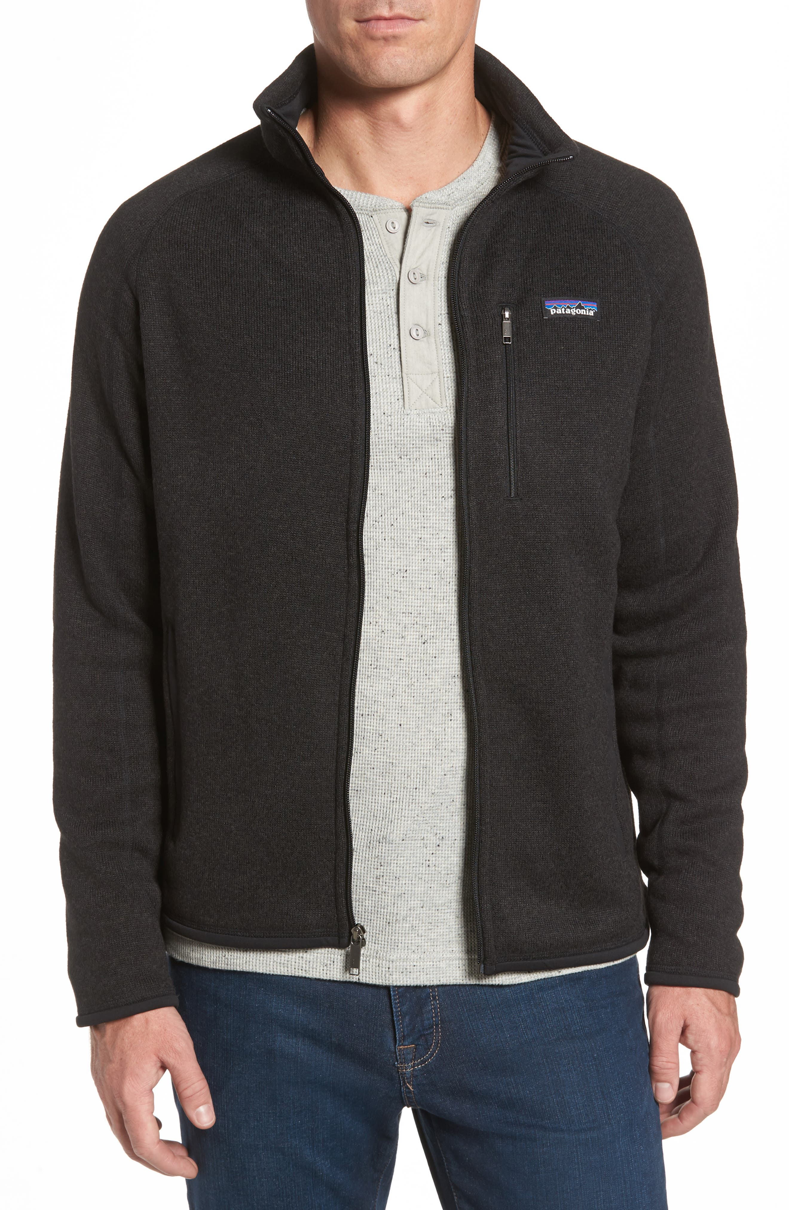 PATAGONIA, Better Sweater Zip Front Jacket, Main thumbnail 1, color, BLACK