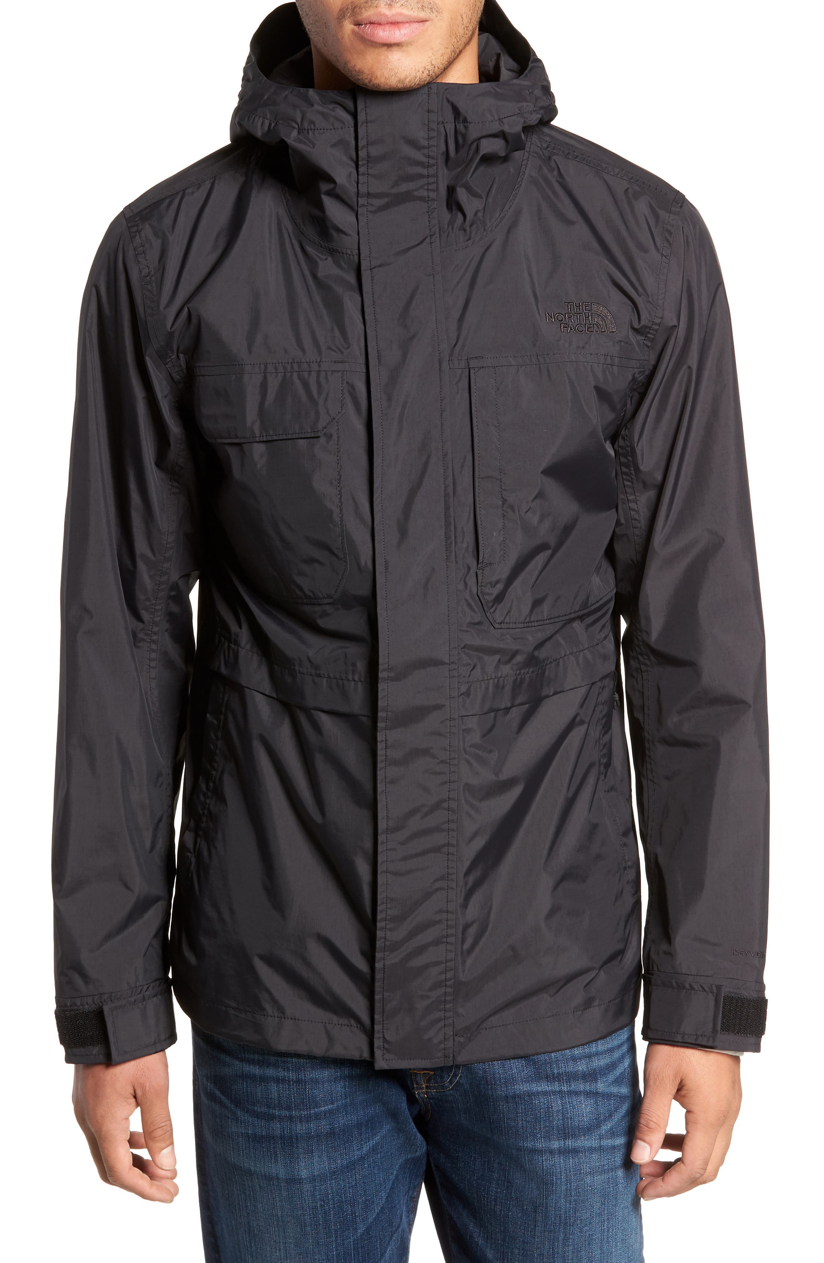 THE NORTH FACE, Zoomie Rain Jacket, Alternate thumbnail 5, color, 001