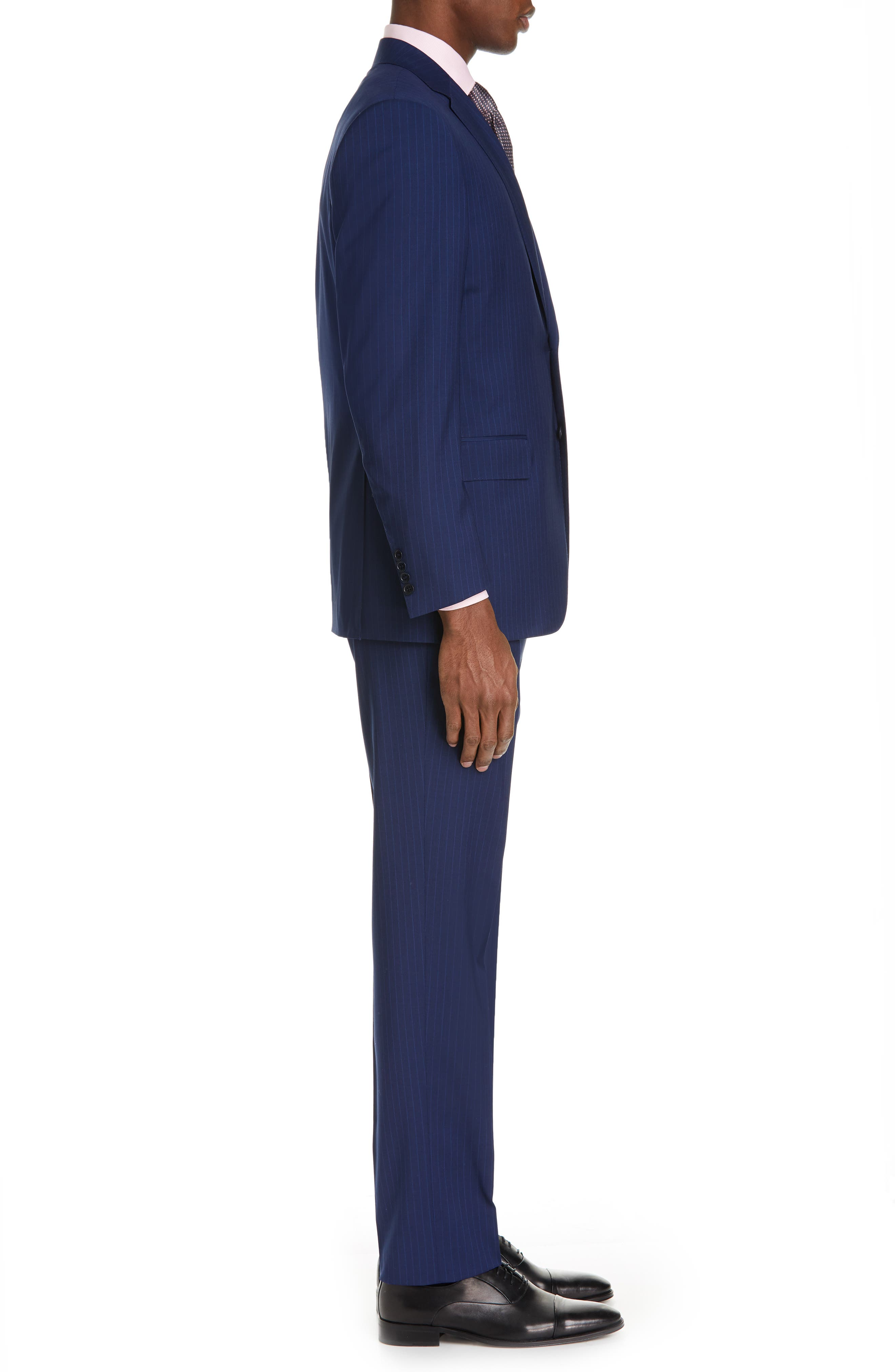 CANALI, Sienna Classic Fit Stripe Wool Suit, Alternate thumbnail 3, color, BLUE