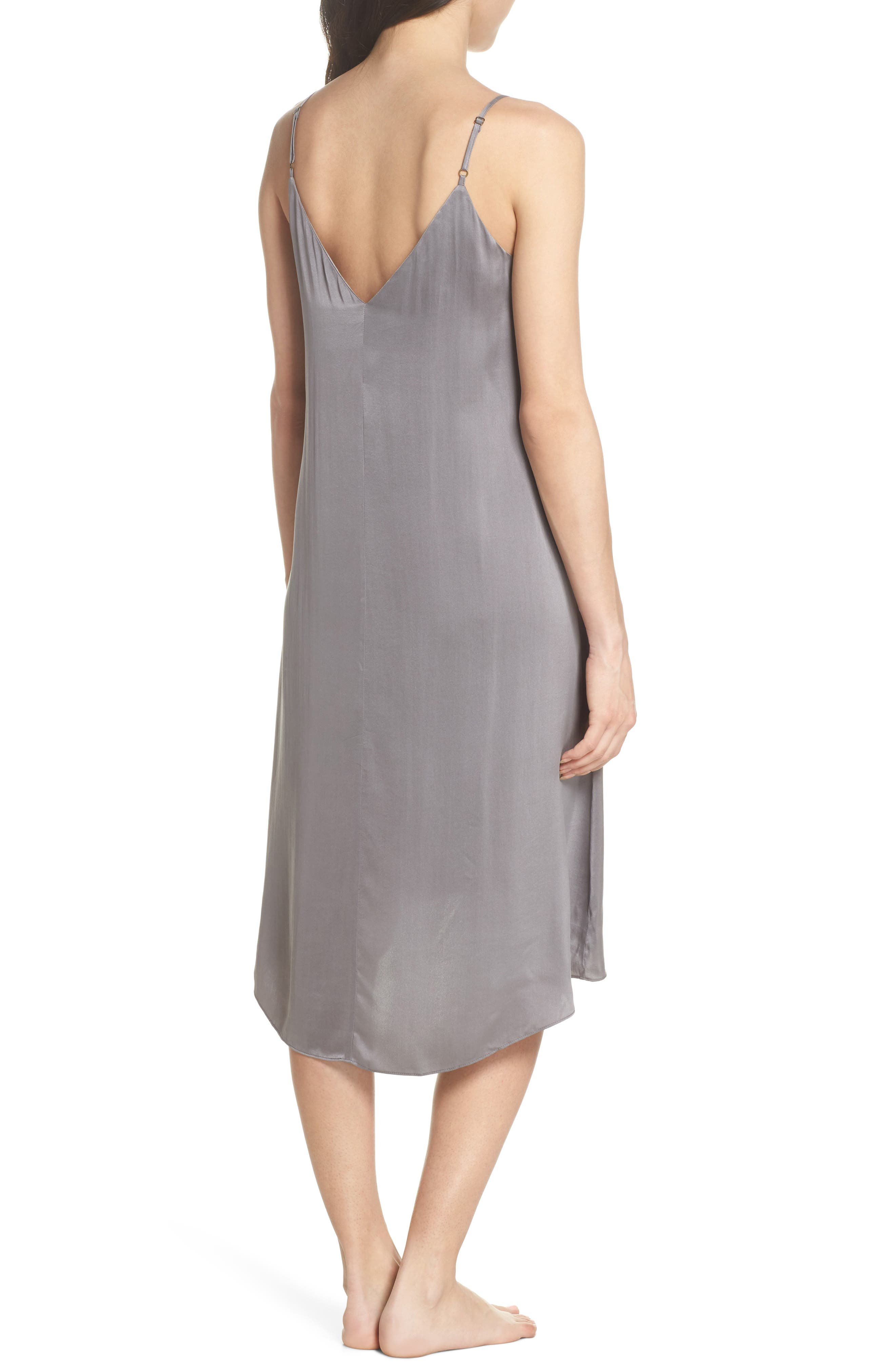 PAPINELLE, Silk Nightgown, Alternate thumbnail 2, color, CHARCOAL