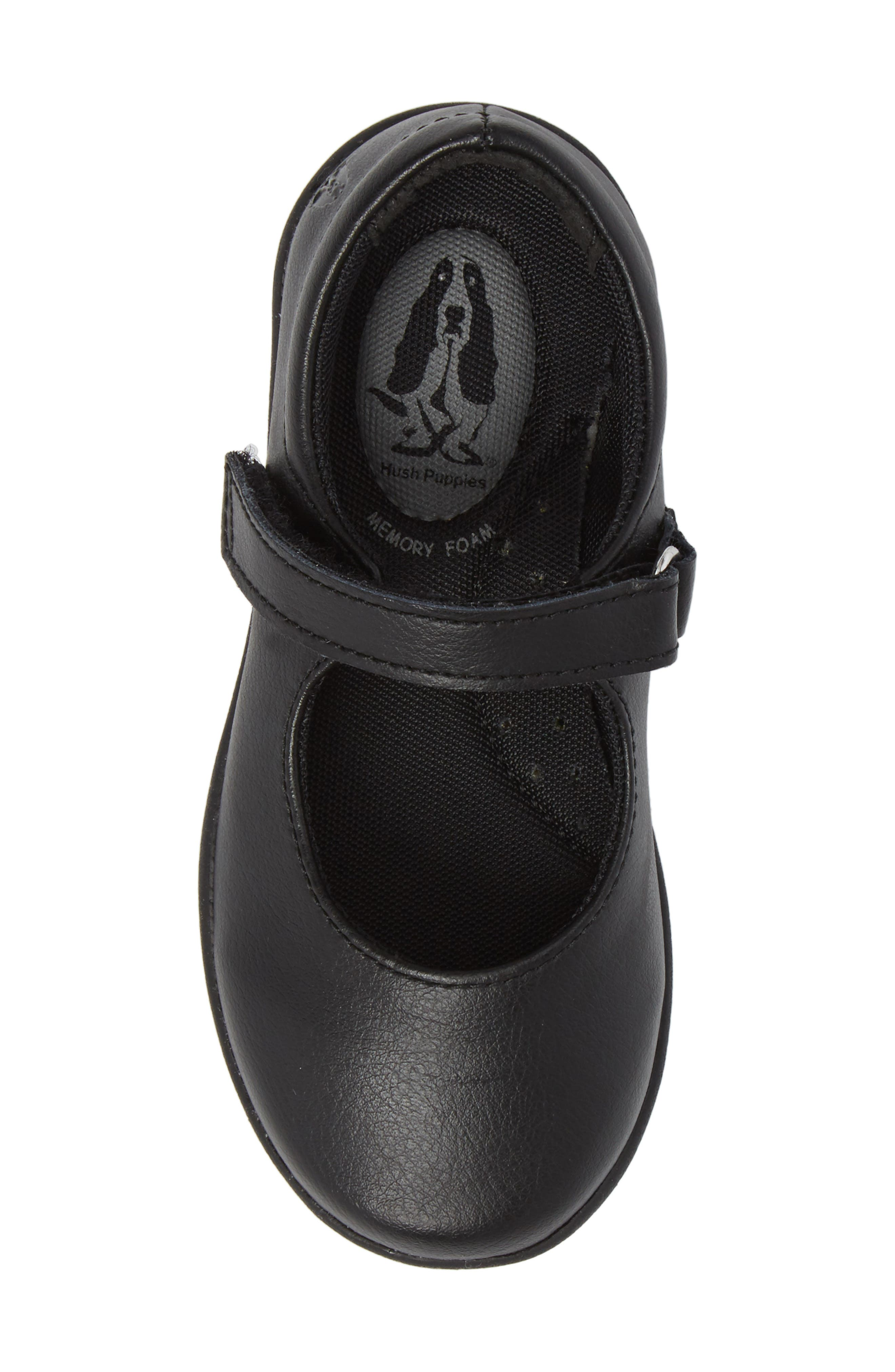HUSH PUPPIES<SUP>®</SUP>, Lexi Mary Jane Flat, Alternate thumbnail 5, color, BLACK LEATHER