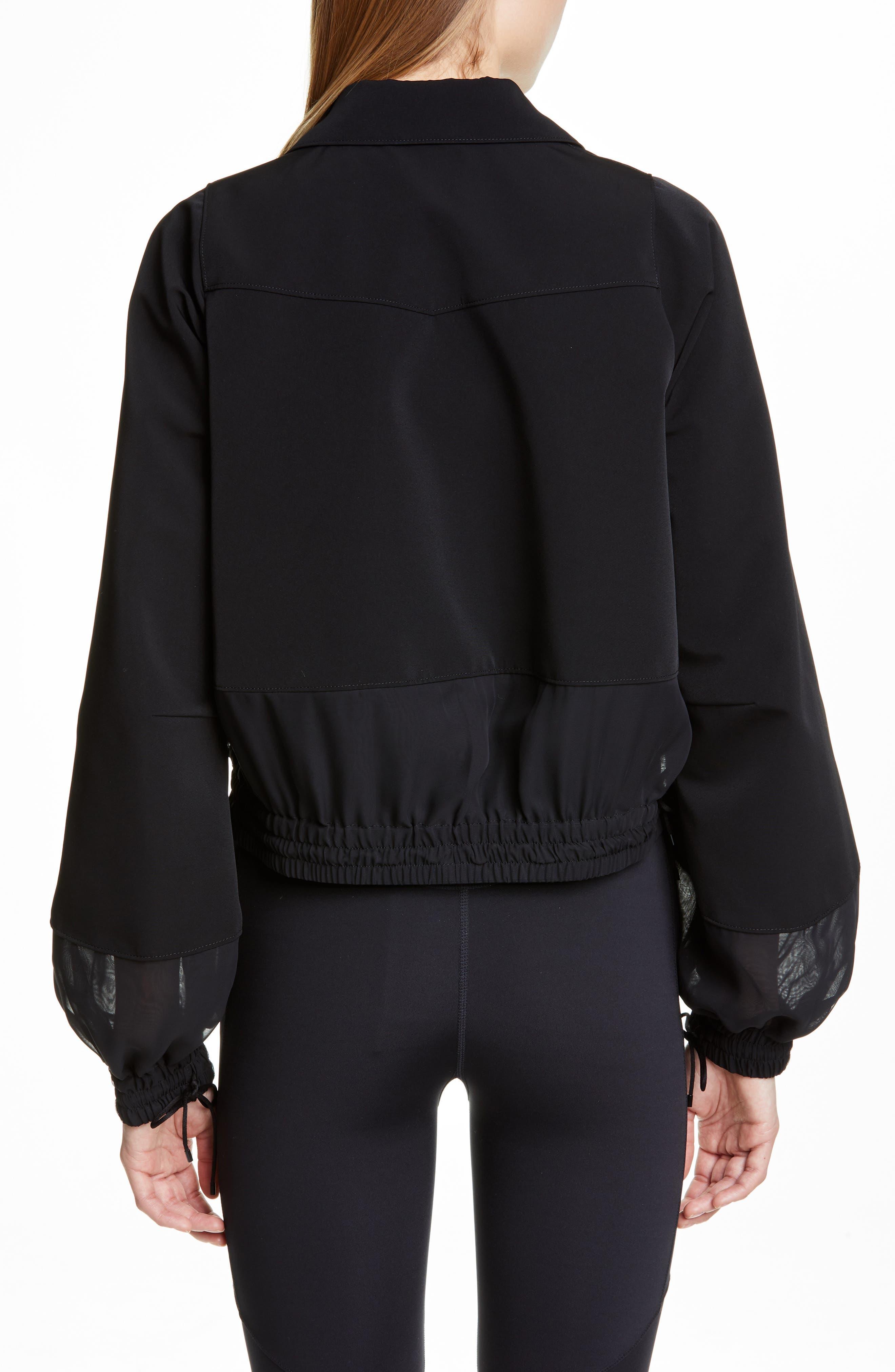 NOIR KEI NINOMIYA, Sheer Panel Moto Jacket, Alternate thumbnail 2, color, BLACK