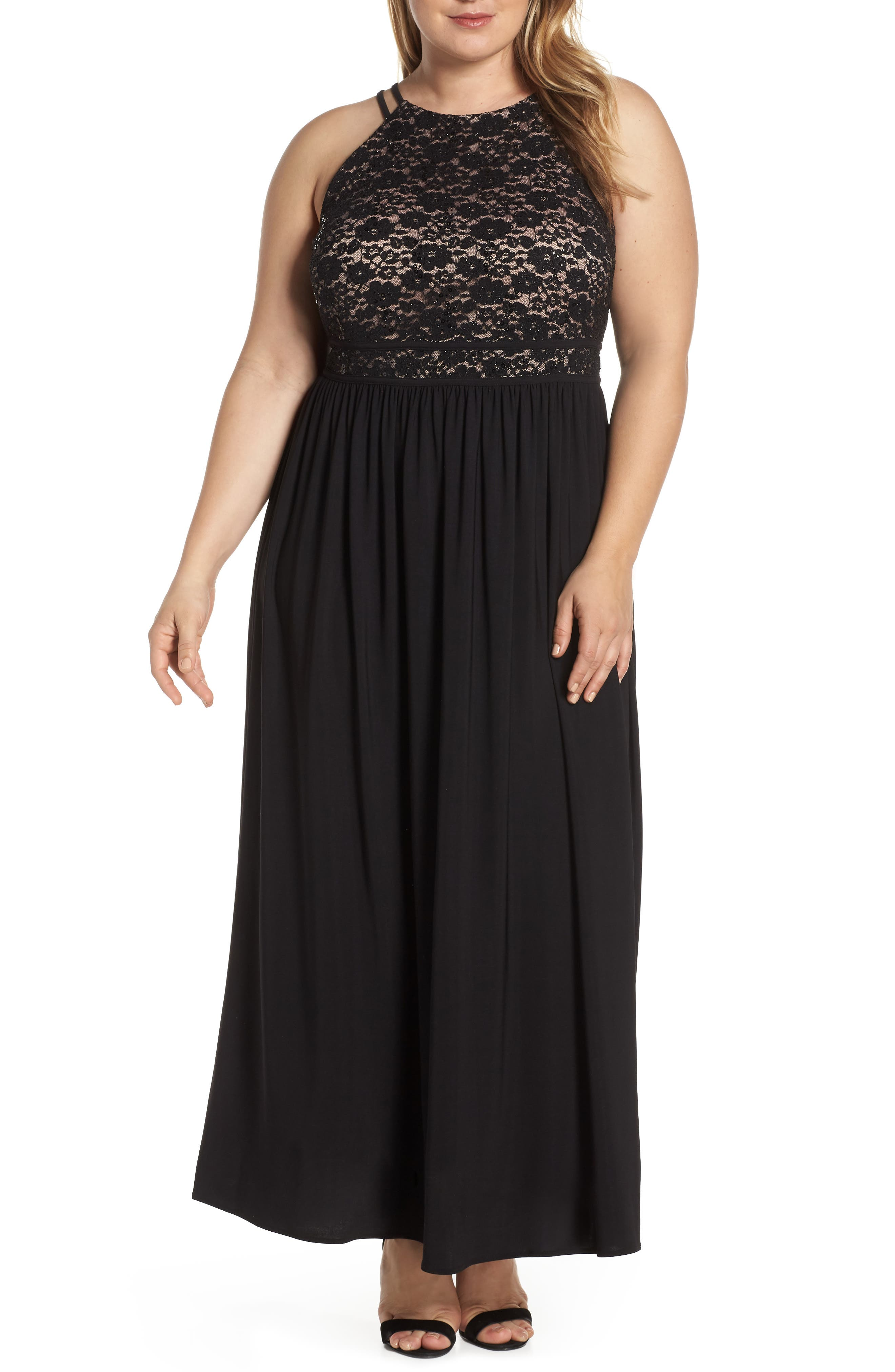 Plus Size Morgan & Co. Lace Bodice Evening Dress, Black