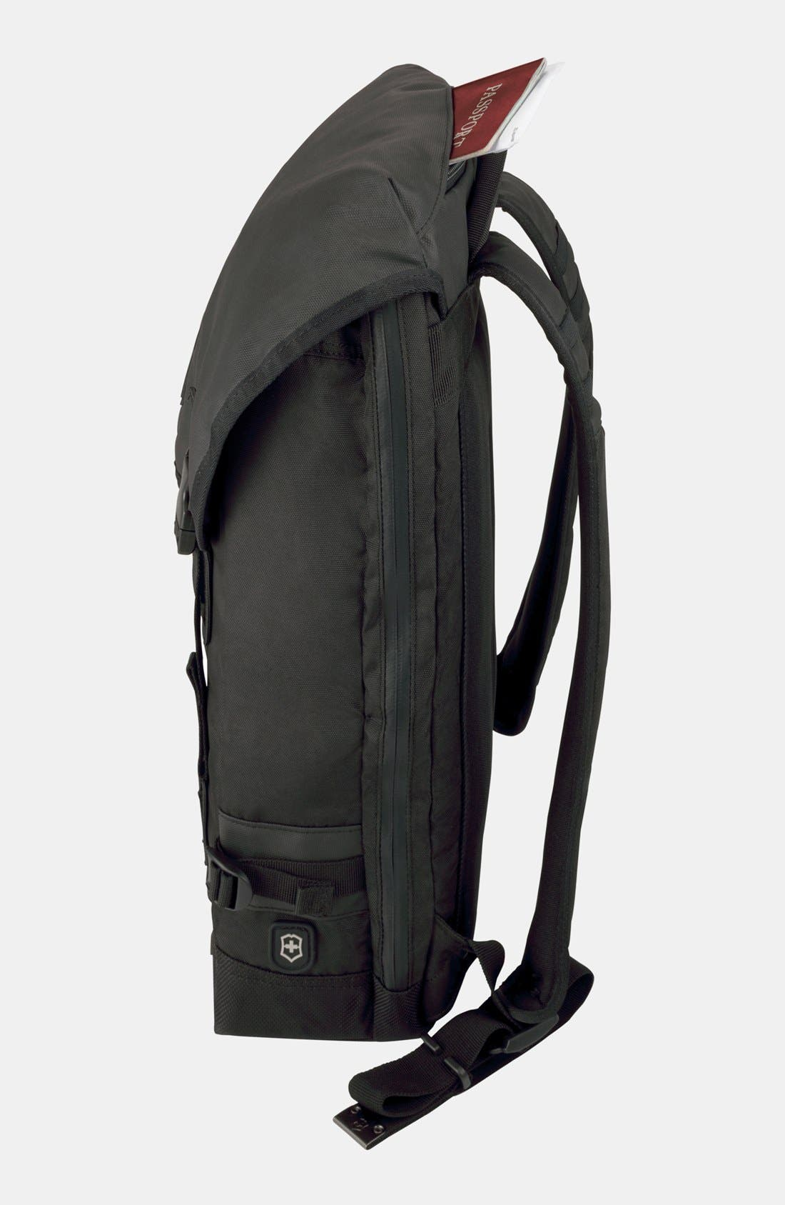 VICTORINOX SWISS ARMY<SUP>®</SUP>, Flapover Backpack, Alternate thumbnail 2, color, BLACK