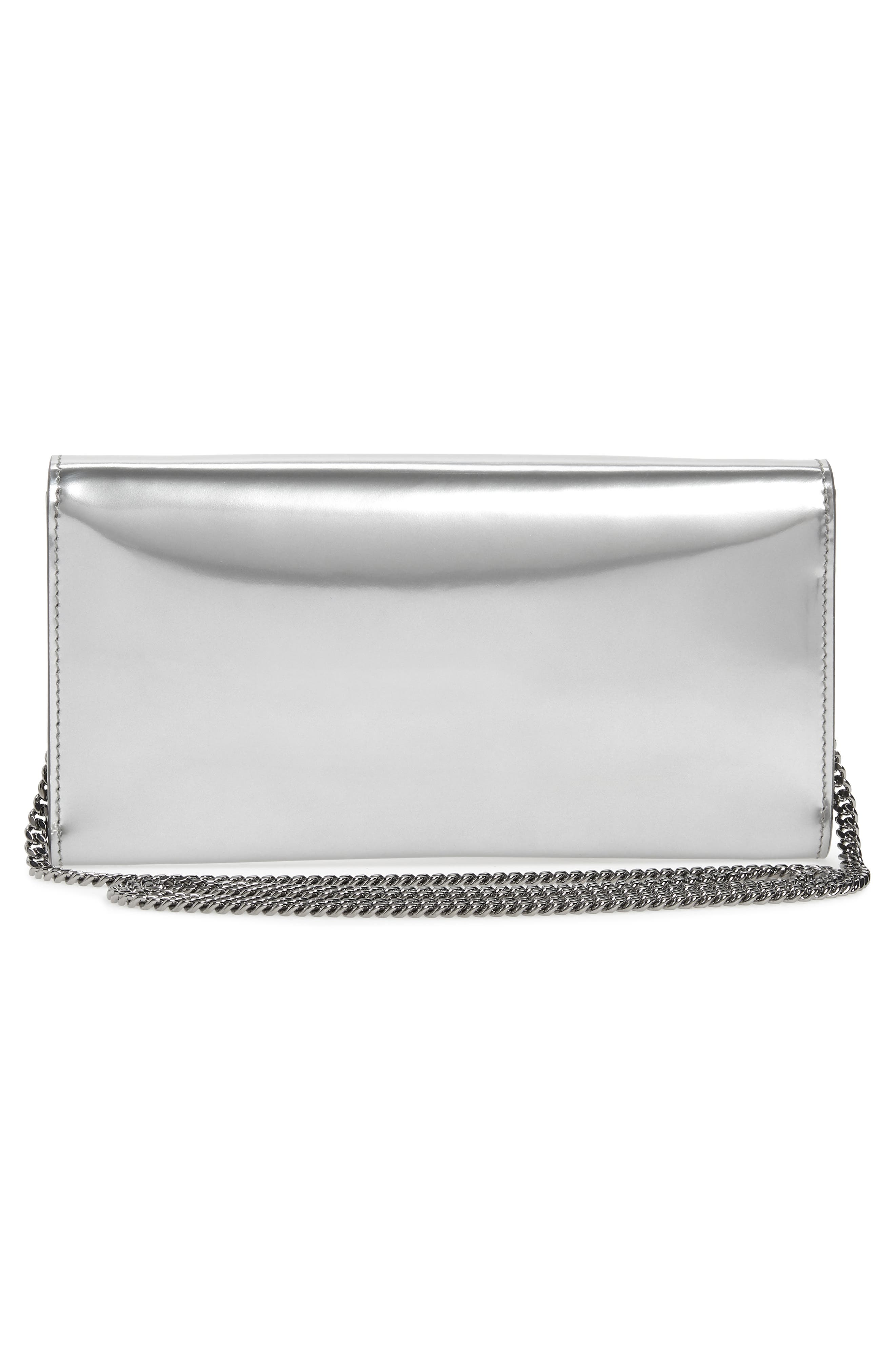 JIMMY CHOO, Emmie Metallic Leather Clutch, Alternate thumbnail 3, color, SILVER