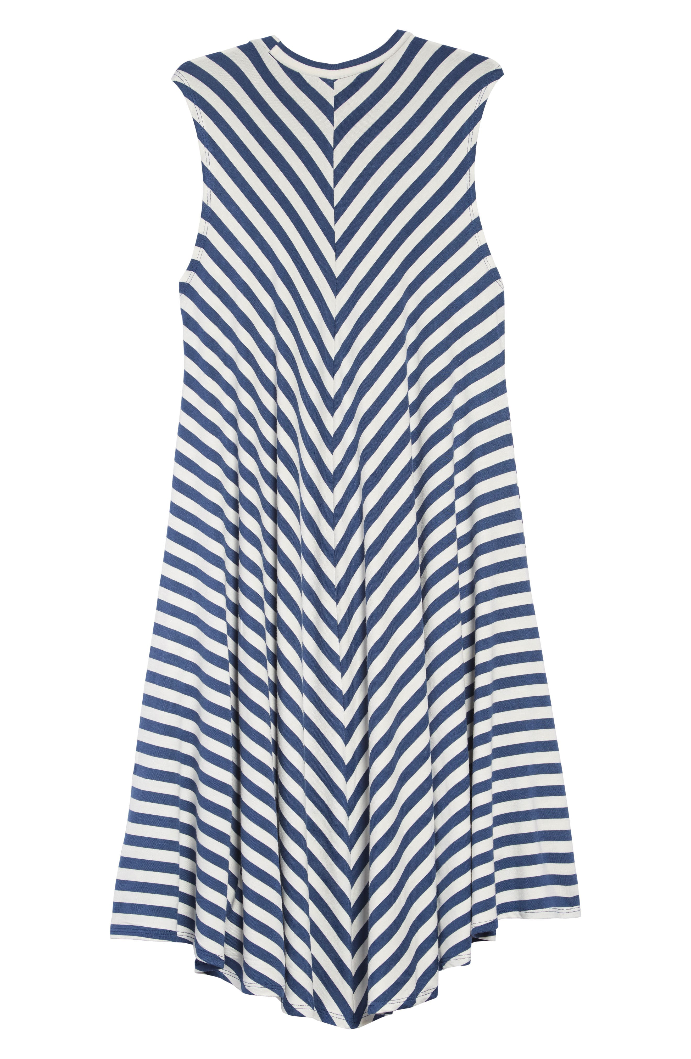 TUCKER + TATE, Print Sleeveless Knit Dress, Alternate thumbnail 2, color, NAVY DENIM- IVORY STRIPE