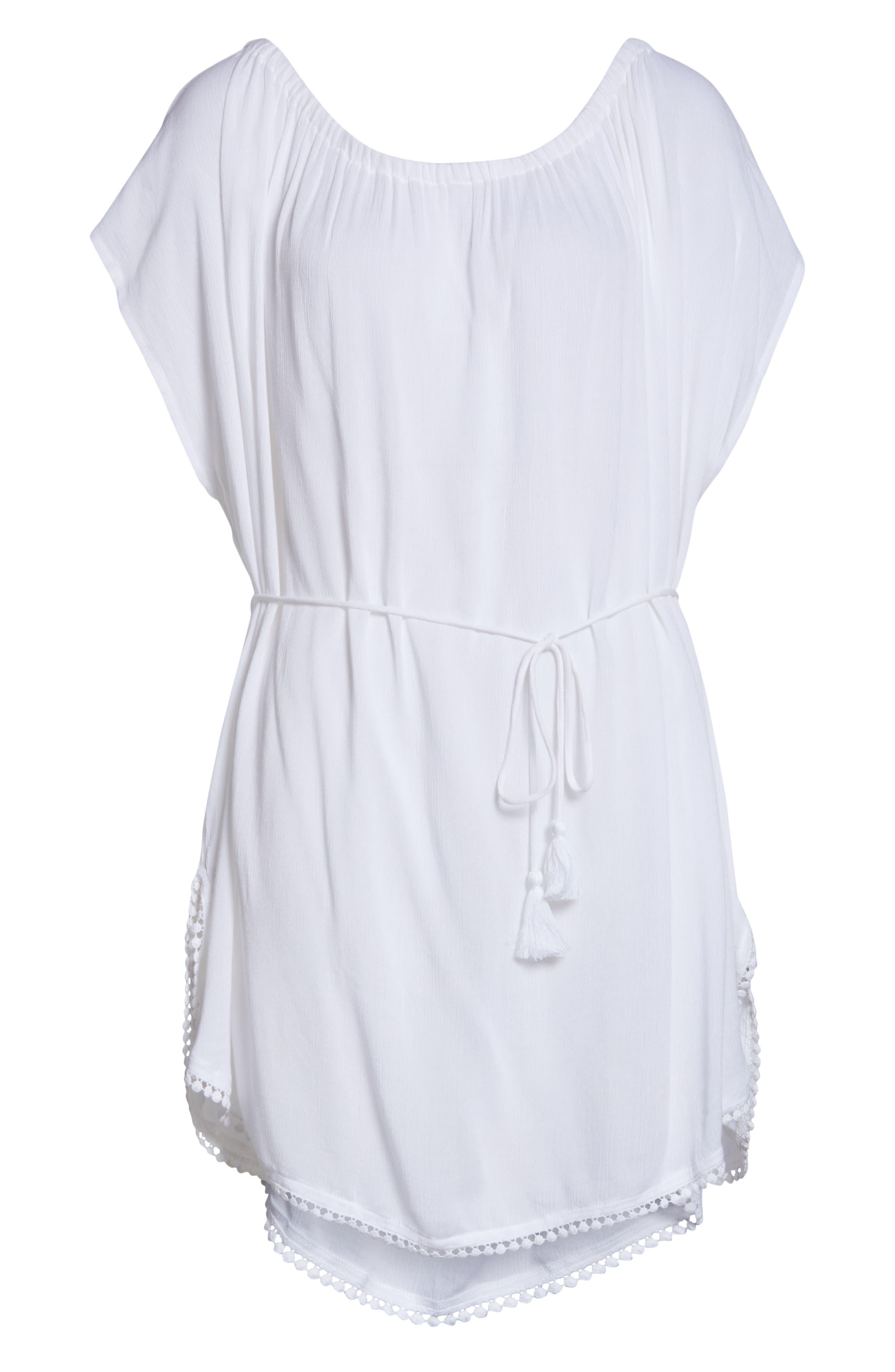 ECHO, Seaside Cover-Up Dress, Alternate thumbnail 7, color, WHITE