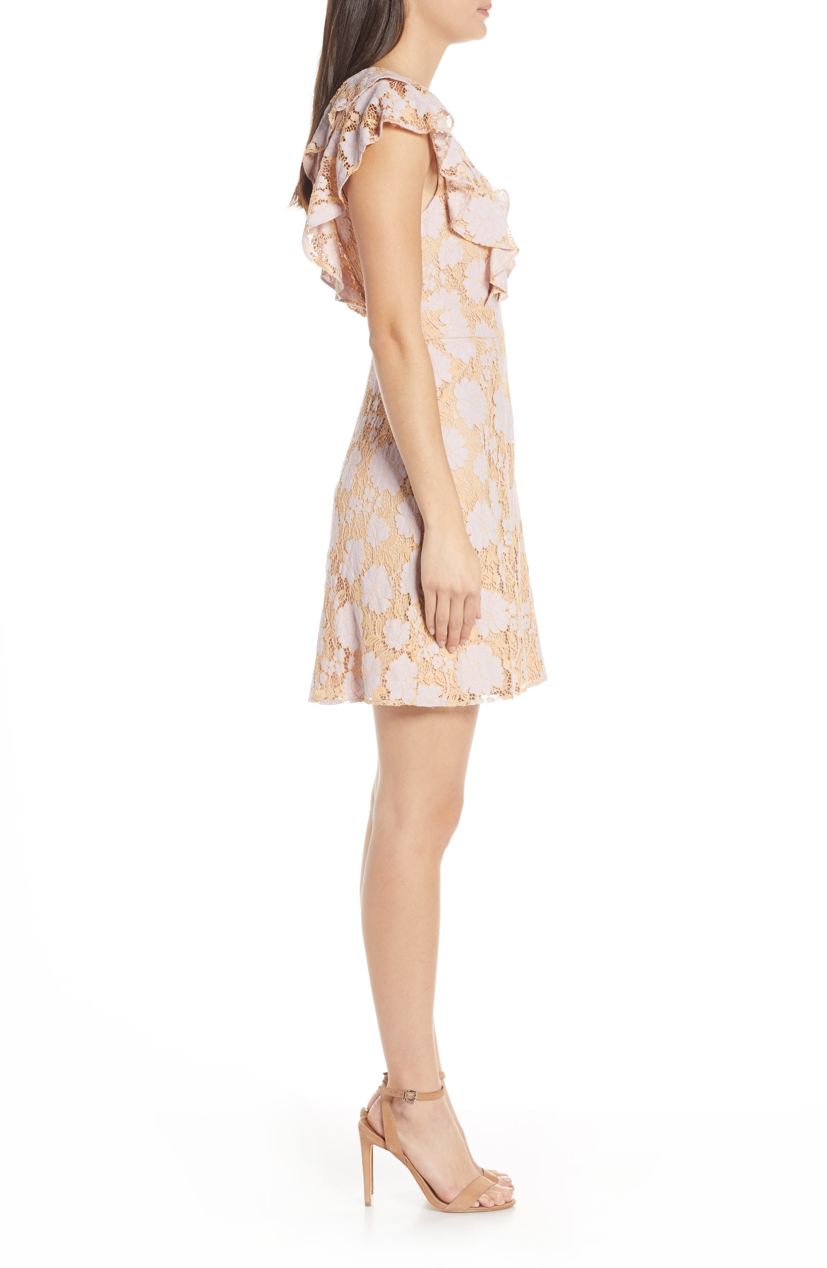 CHARLES HENRY, Ruffle Lace Minidress, Alternate thumbnail 4, color, LILAC-PINK LACE