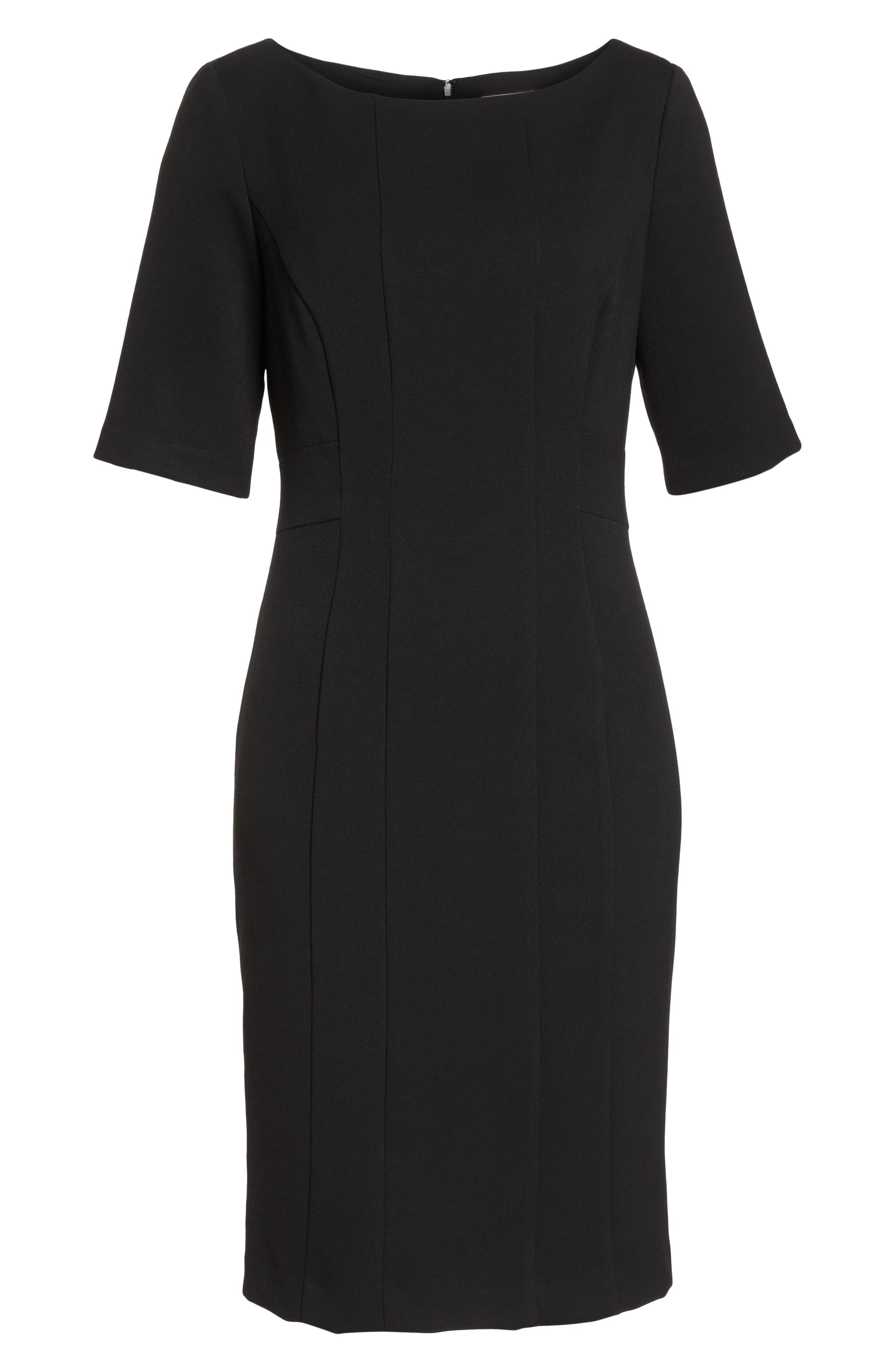 ELIZA J, Bateau Neck Crepe Sheath Dress, Alternate thumbnail 7, color, BLACK