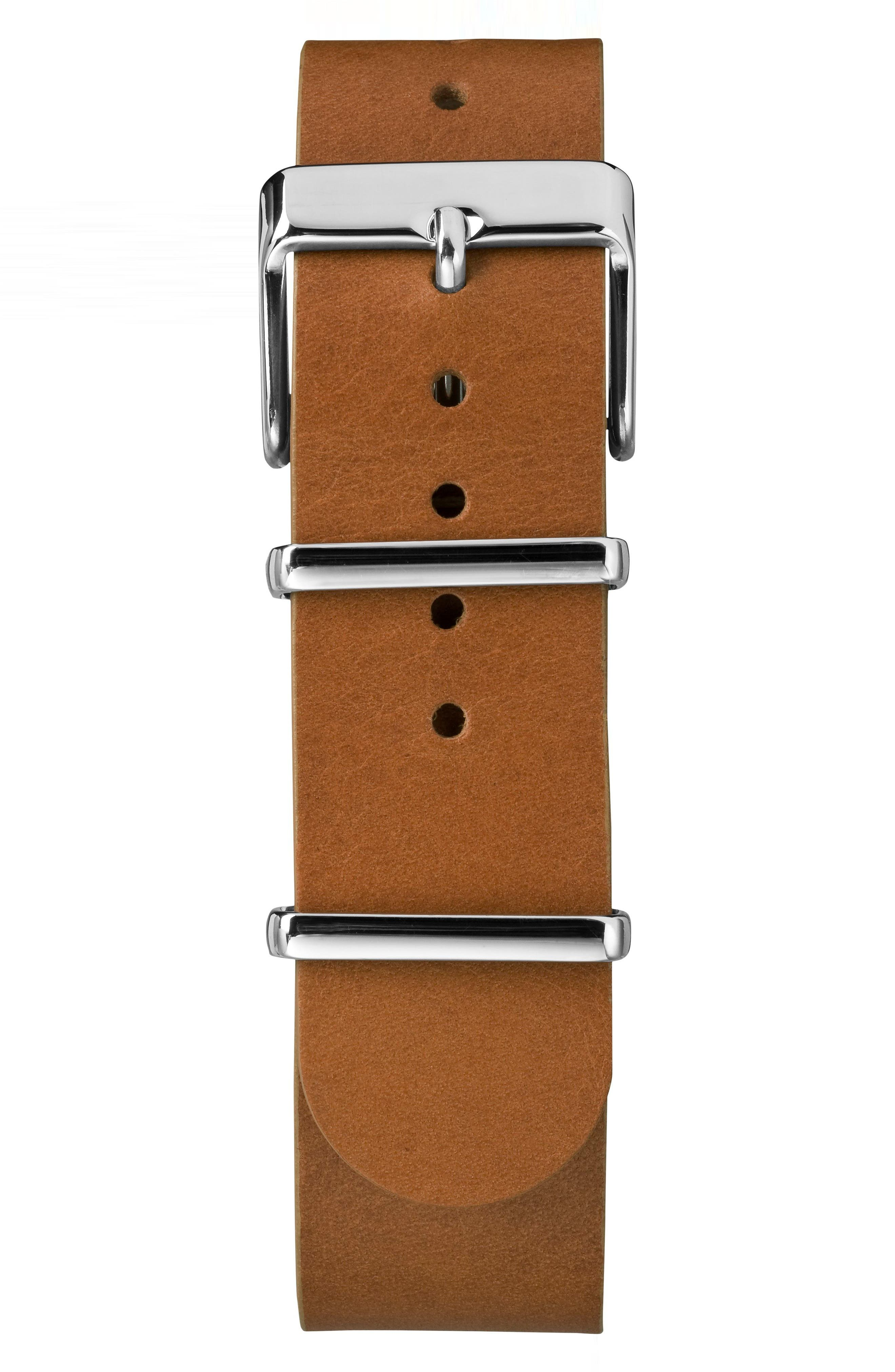 TIMEX<SUP>®</SUP>, Fairfield Leather Strap Watch, 41mm, Alternate thumbnail 2, color, BROWN/ BLUE/ SILVER