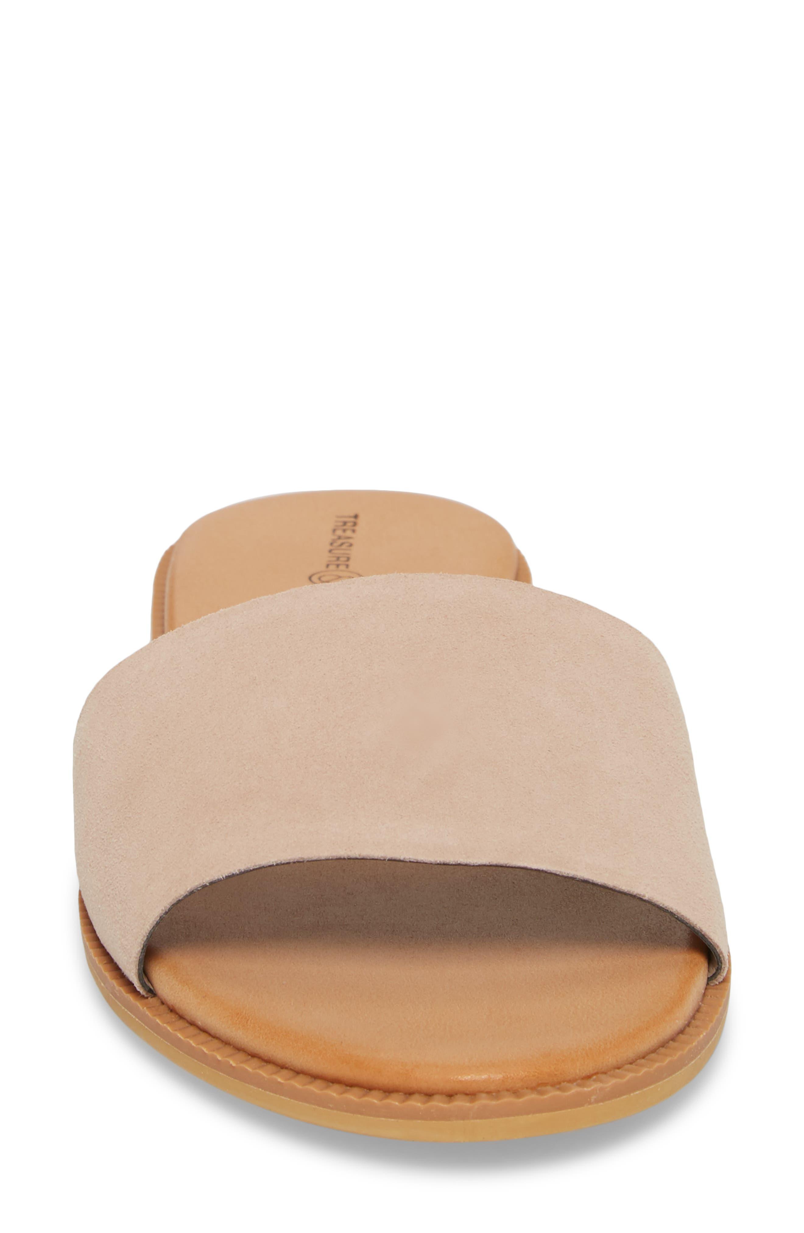 TREASURE & BOND, Mere Flat Slide Sandal, Alternate thumbnail 4, color, NEW BLUSH SUEDE