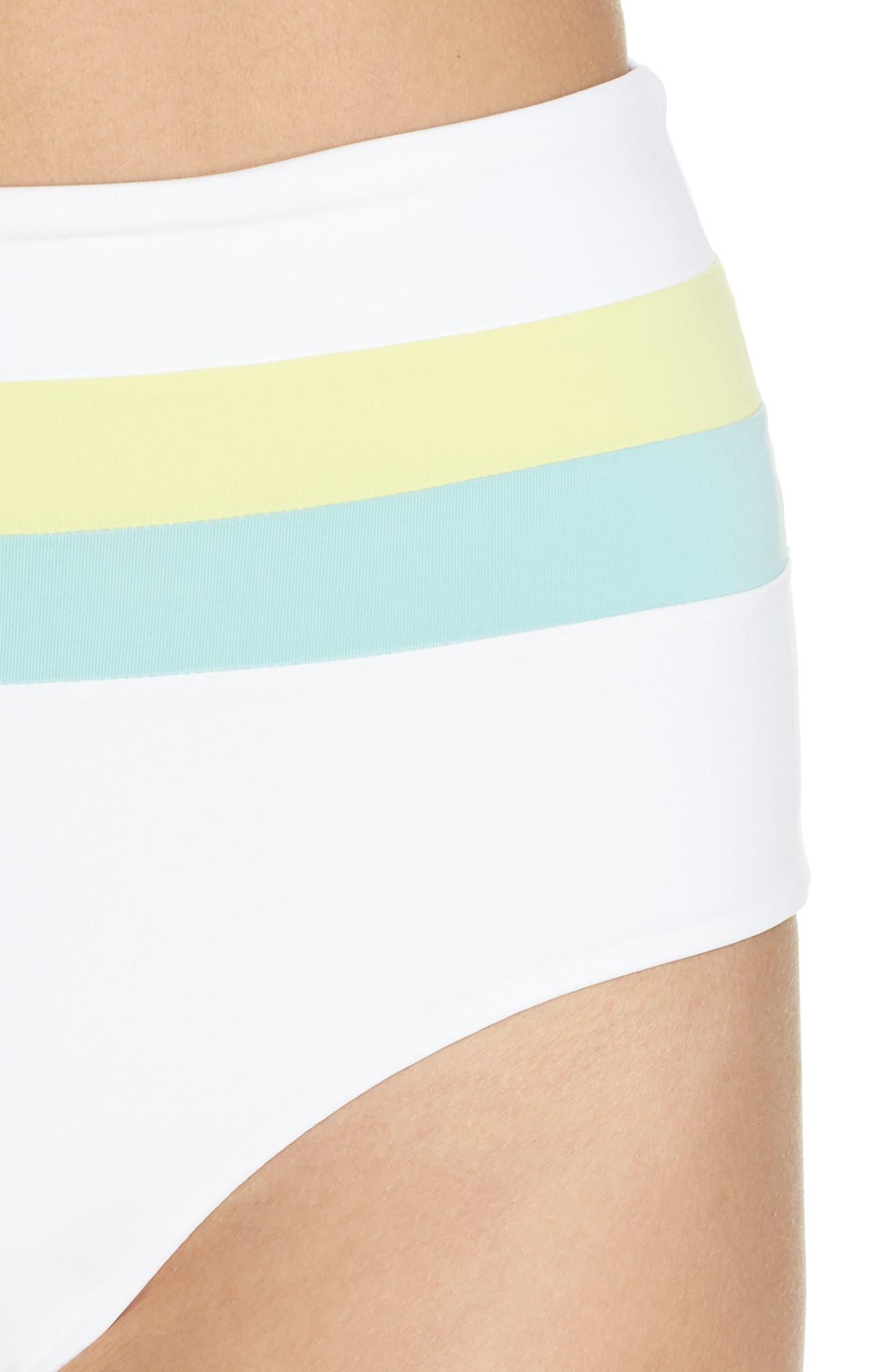 L SPACE, Portia Reversible High Waist Bikini Bottoms, Alternate thumbnail 5, color, WHITE/ LIGHT TURQ/ LEMONADE