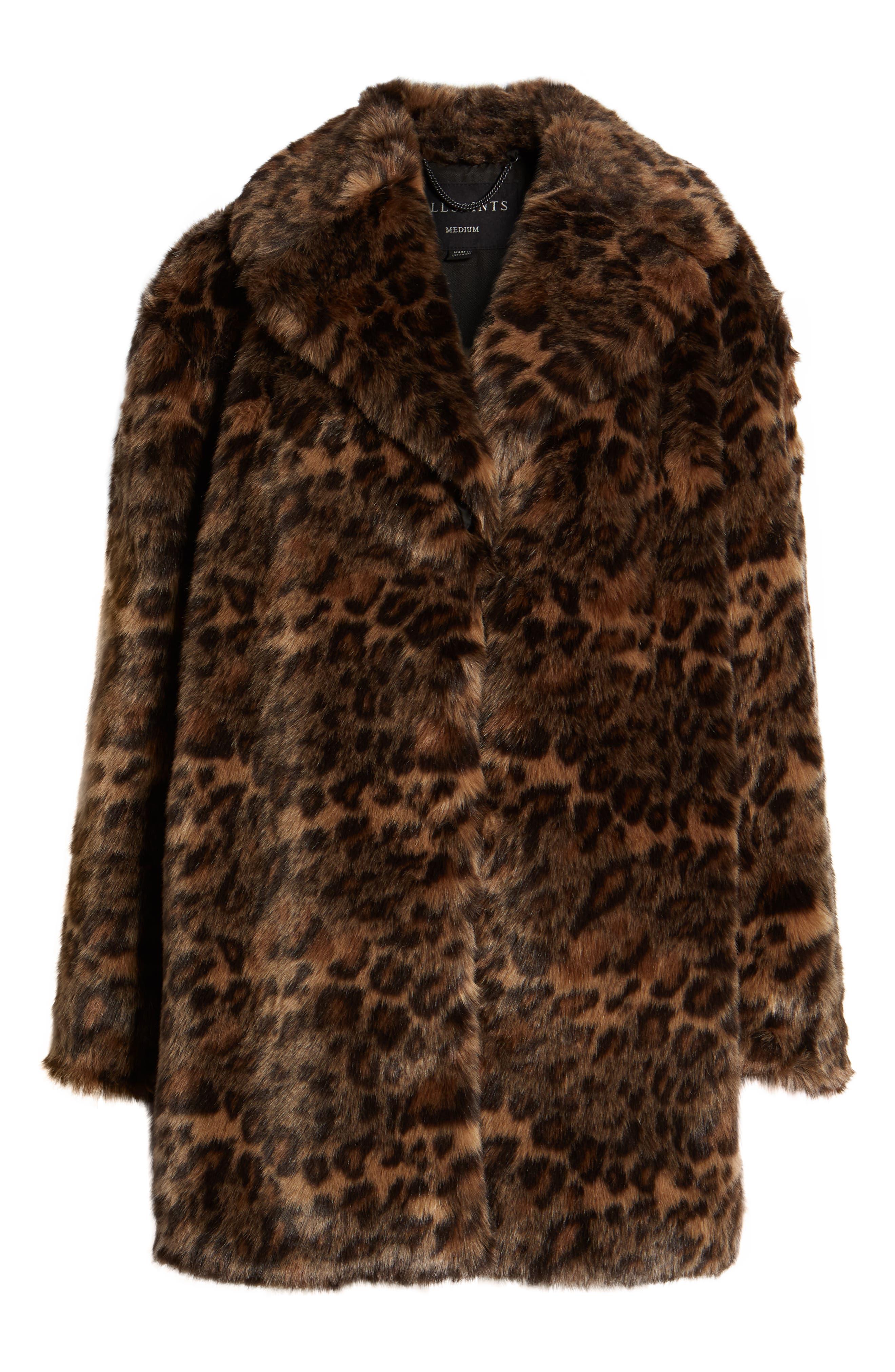 ALLSAINTS, Amice Leopard Spot Faux Fur Jacket, Alternate thumbnail 6, color, 200