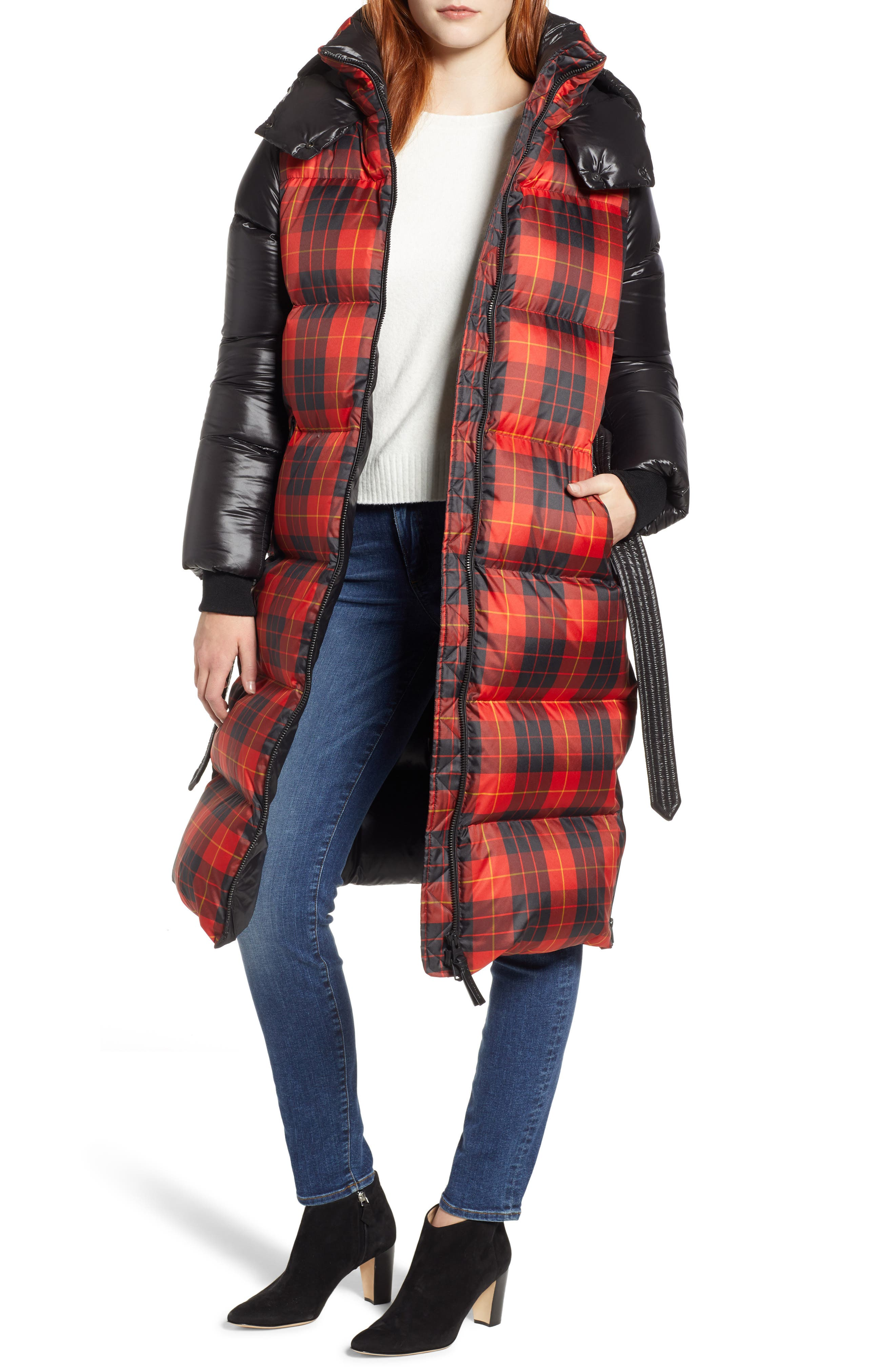 MACKAGE Plaid Down Hooded Jacket, Main, color, 648