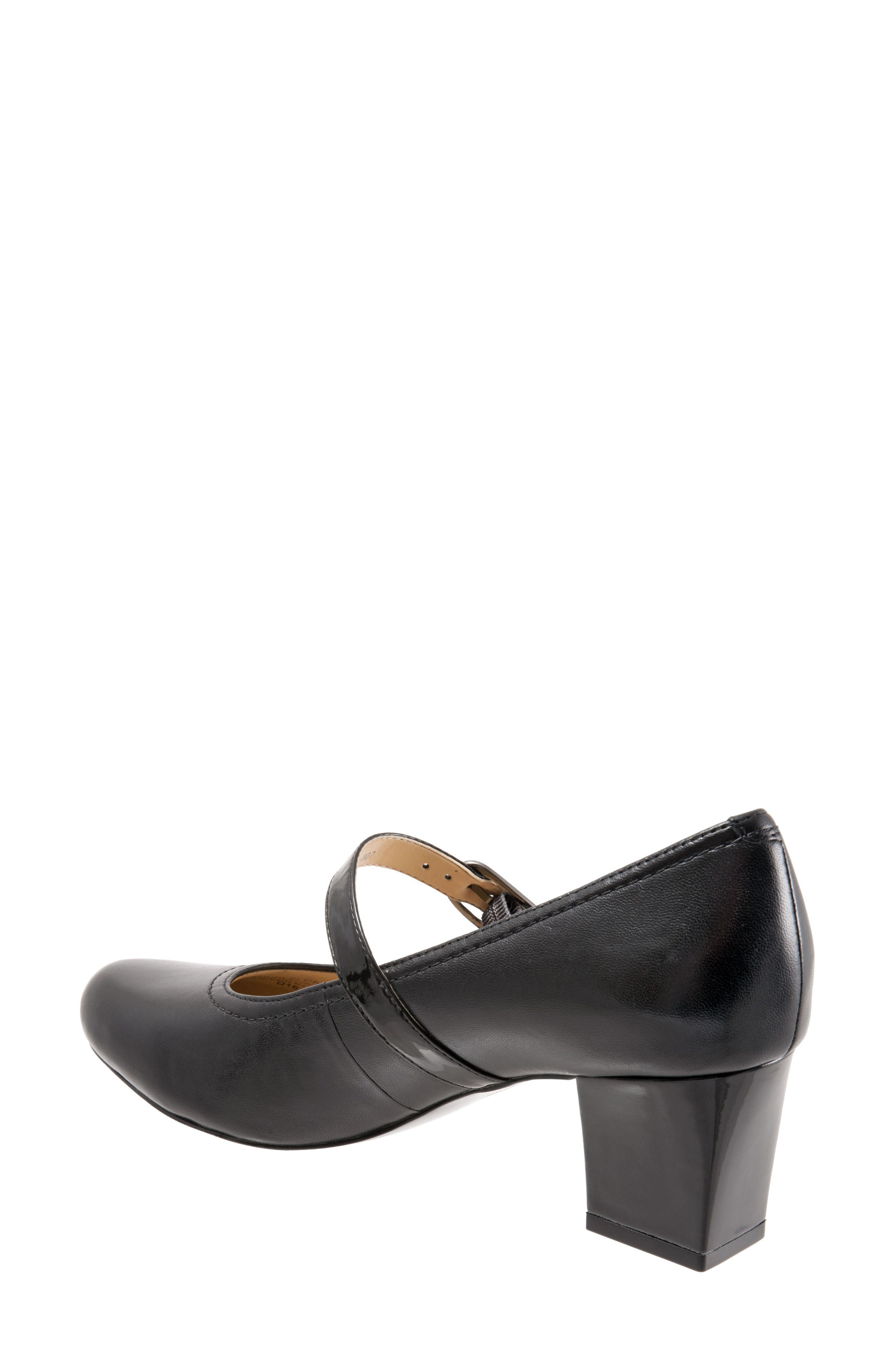 TROTTERS, 'Candice' Mary Jane Pump, Alternate thumbnail 4, color, BLACK LEATHER