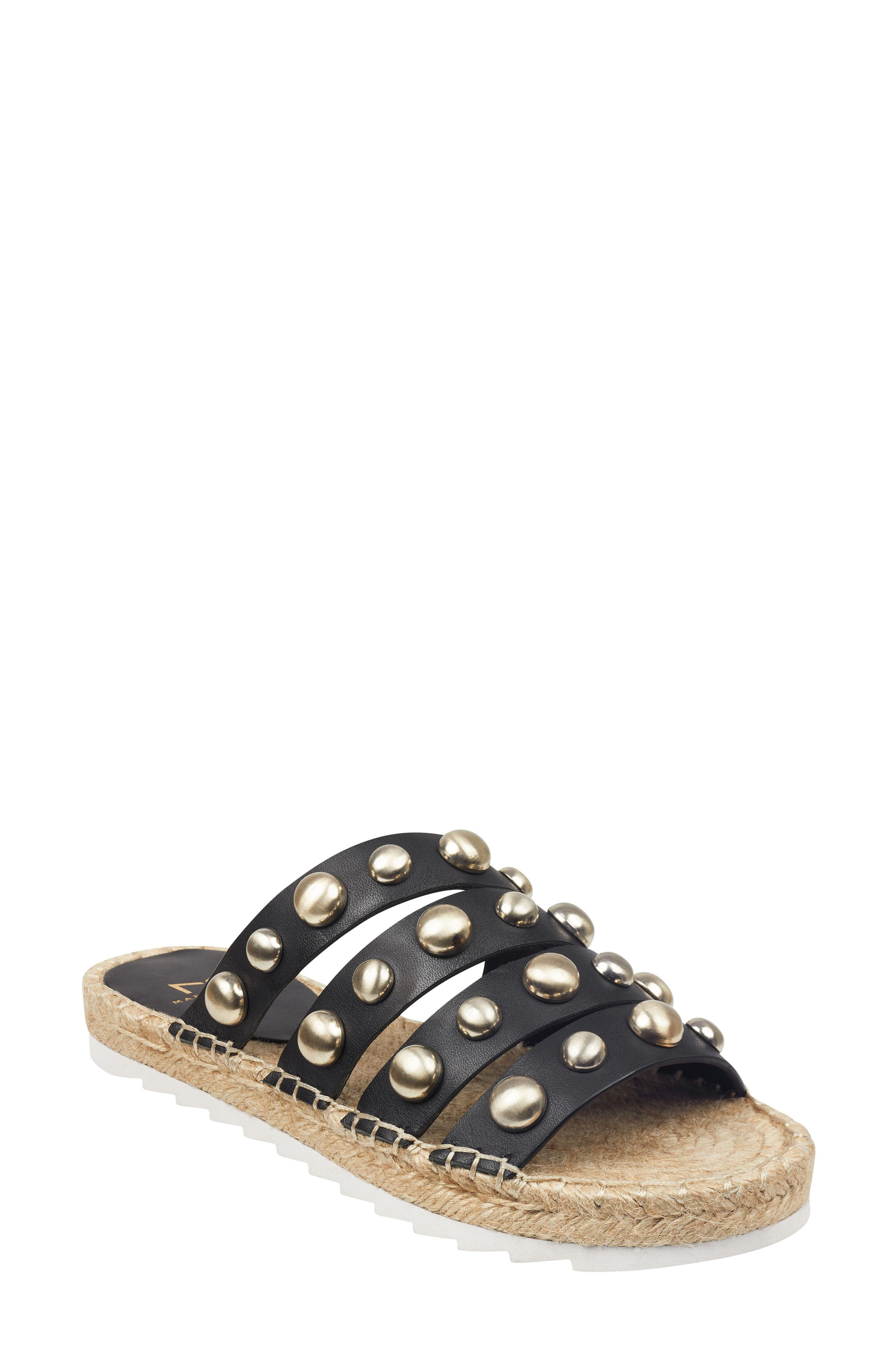 Marc Fisher Ltd Brandie Strappy Studded Slide Sandal, Black