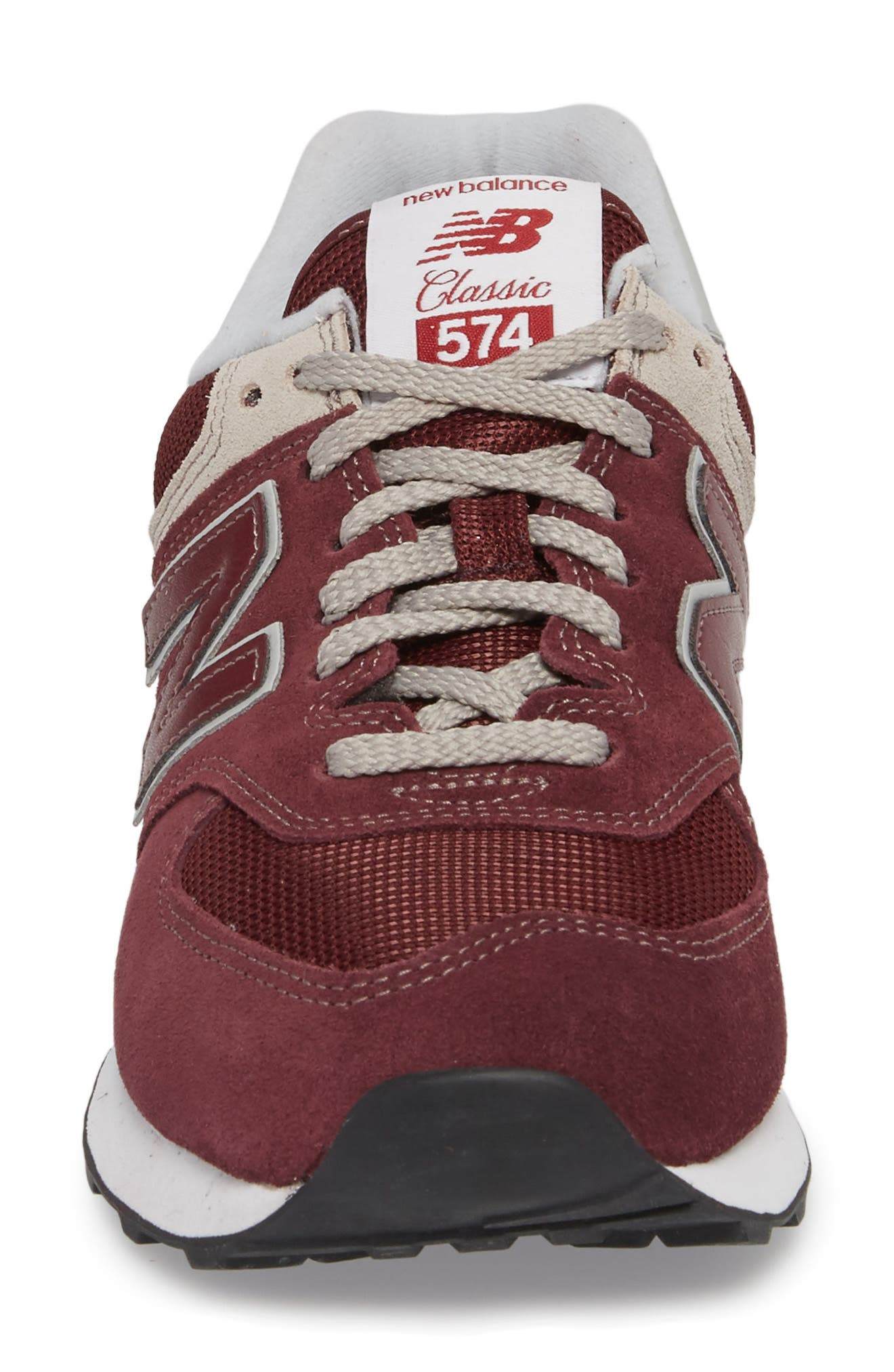 NEW BALANCE, 574 Classic Sneaker, Alternate thumbnail 4, color, BURGUNDY