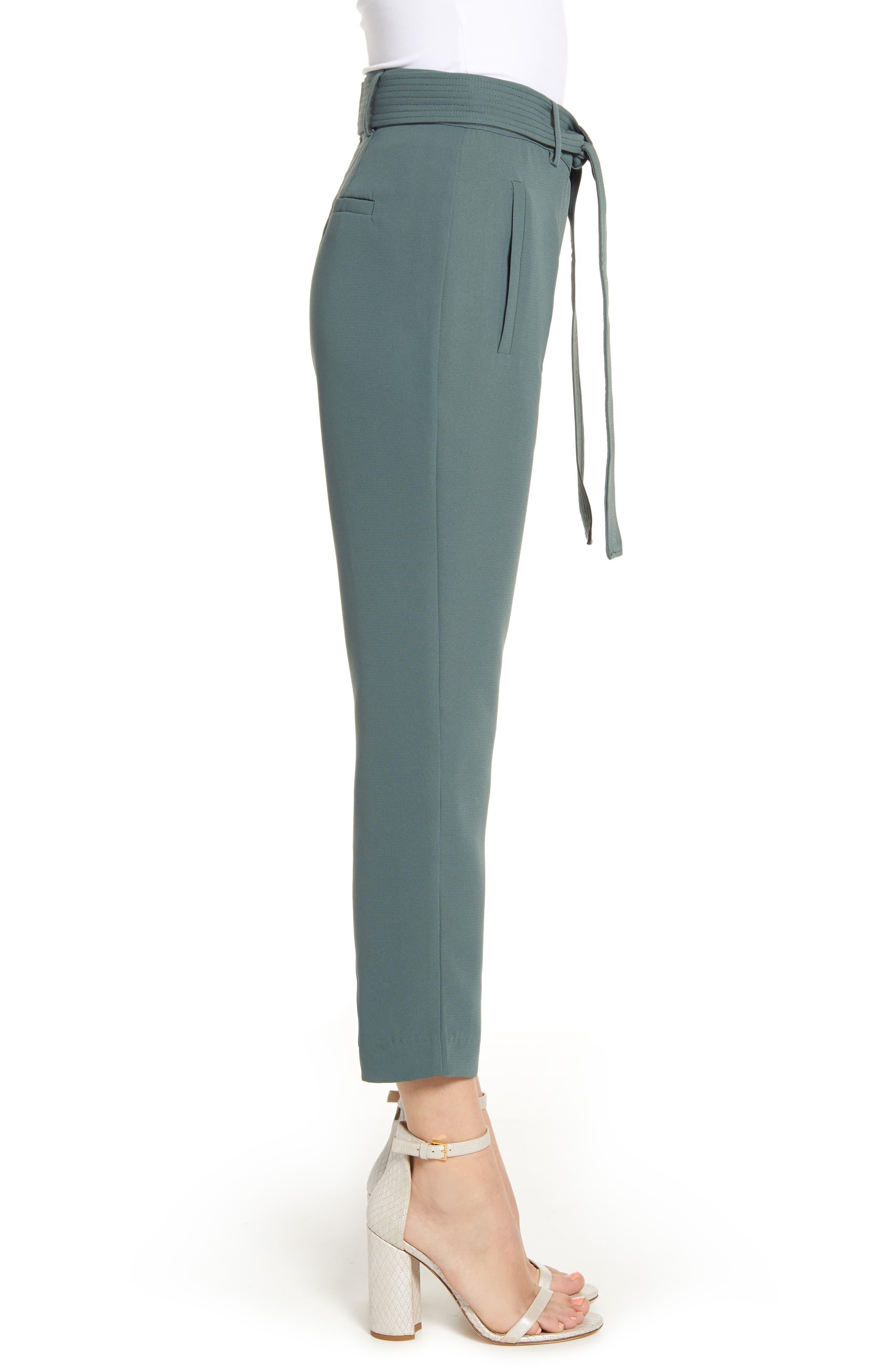 CHELSEA28, Tie Waist Ankle Pants, Alternate thumbnail 4, color, GREY URBAN