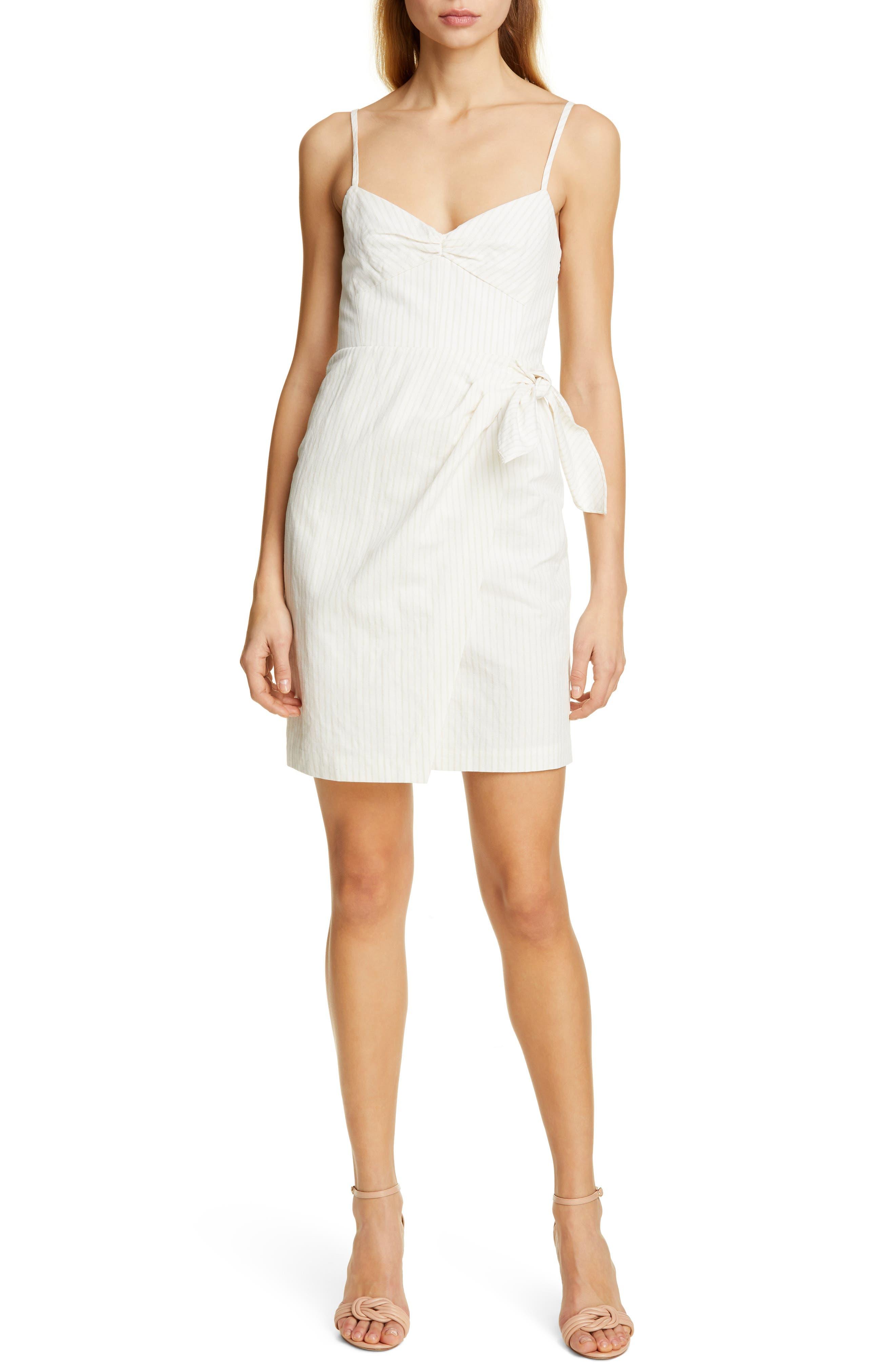 REBECCA TAYLOR, Pinstripe Cotton & Linen Dress, Main thumbnail 1, color, SNOW COMBO