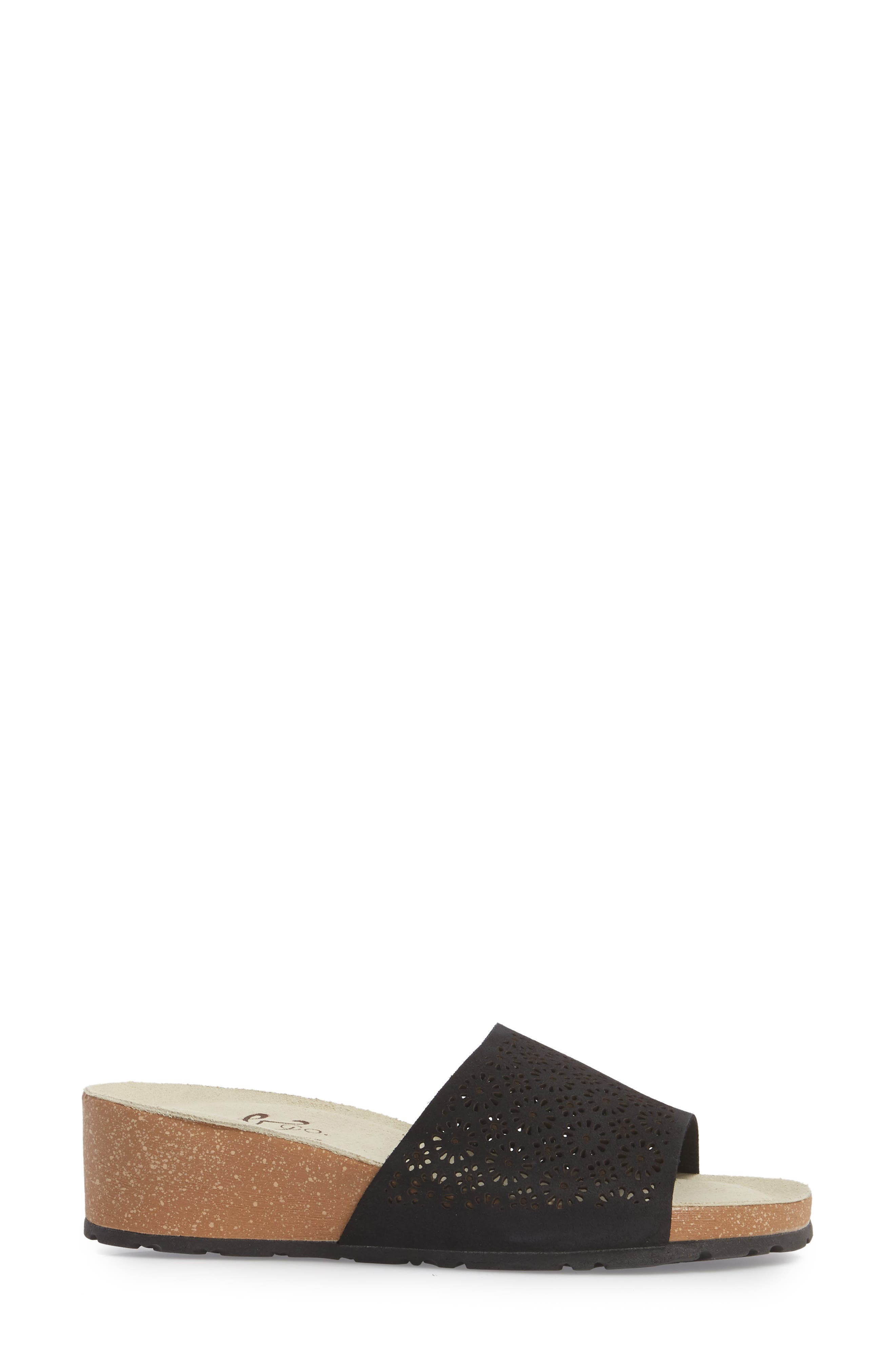 BOS. & CO., Loa Wedge Slide Sandal, Alternate thumbnail 3, color, BLACK SUEDE