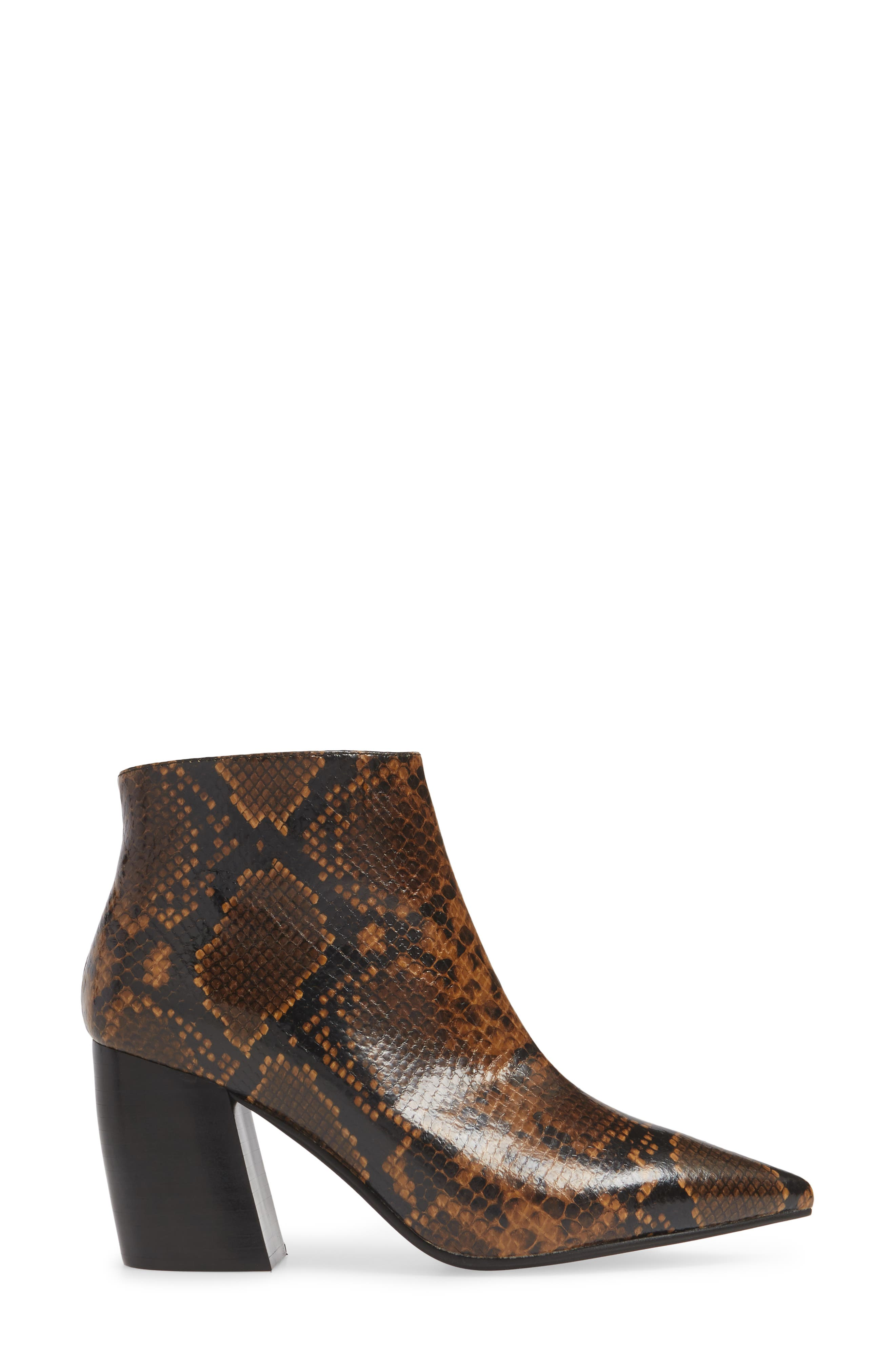 JEFFREY CAMPBELL, Final Bootie, Alternate thumbnail 3, color, NATURAL/ BLACK SNAKE PRINT