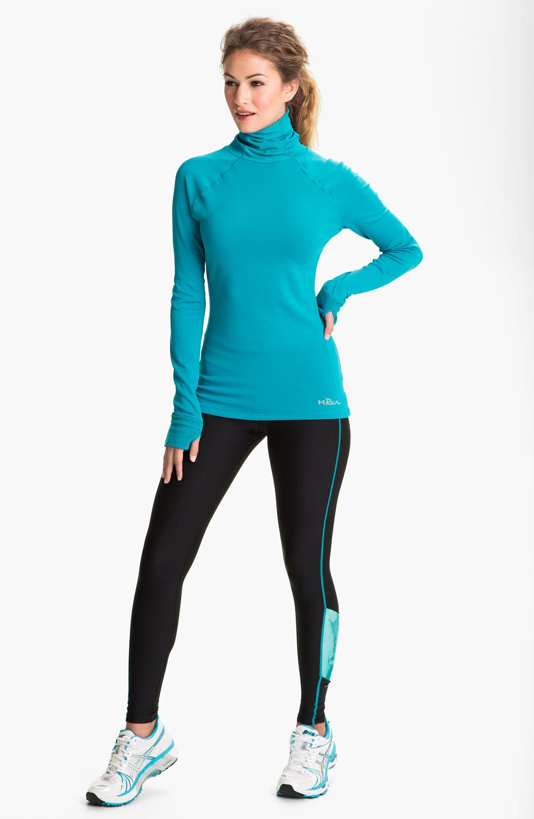 UNDER ARMOUR, ColdGear<sup>®</sup> Print Blocked Tights, Alternate thumbnail 3, color, 010