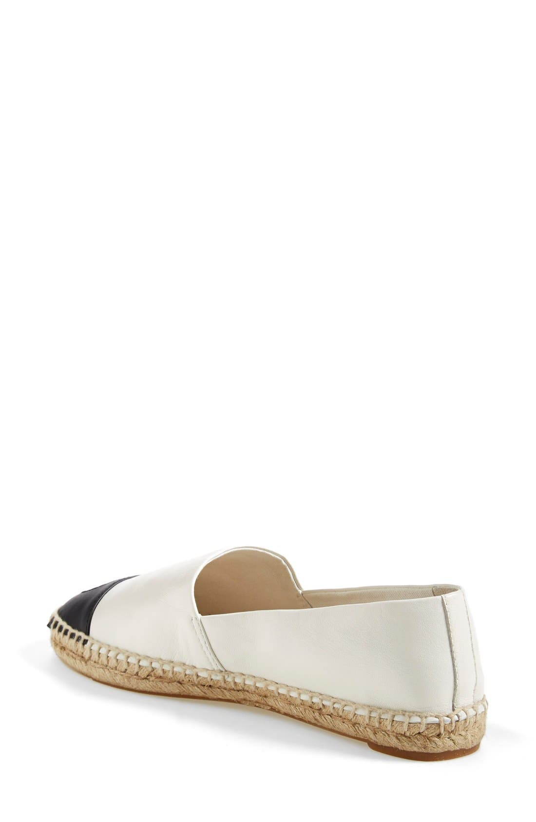 TORY BURCH, Colorblock Espadrille Flat, Alternate thumbnail 3, color, IVORY/ BLACK