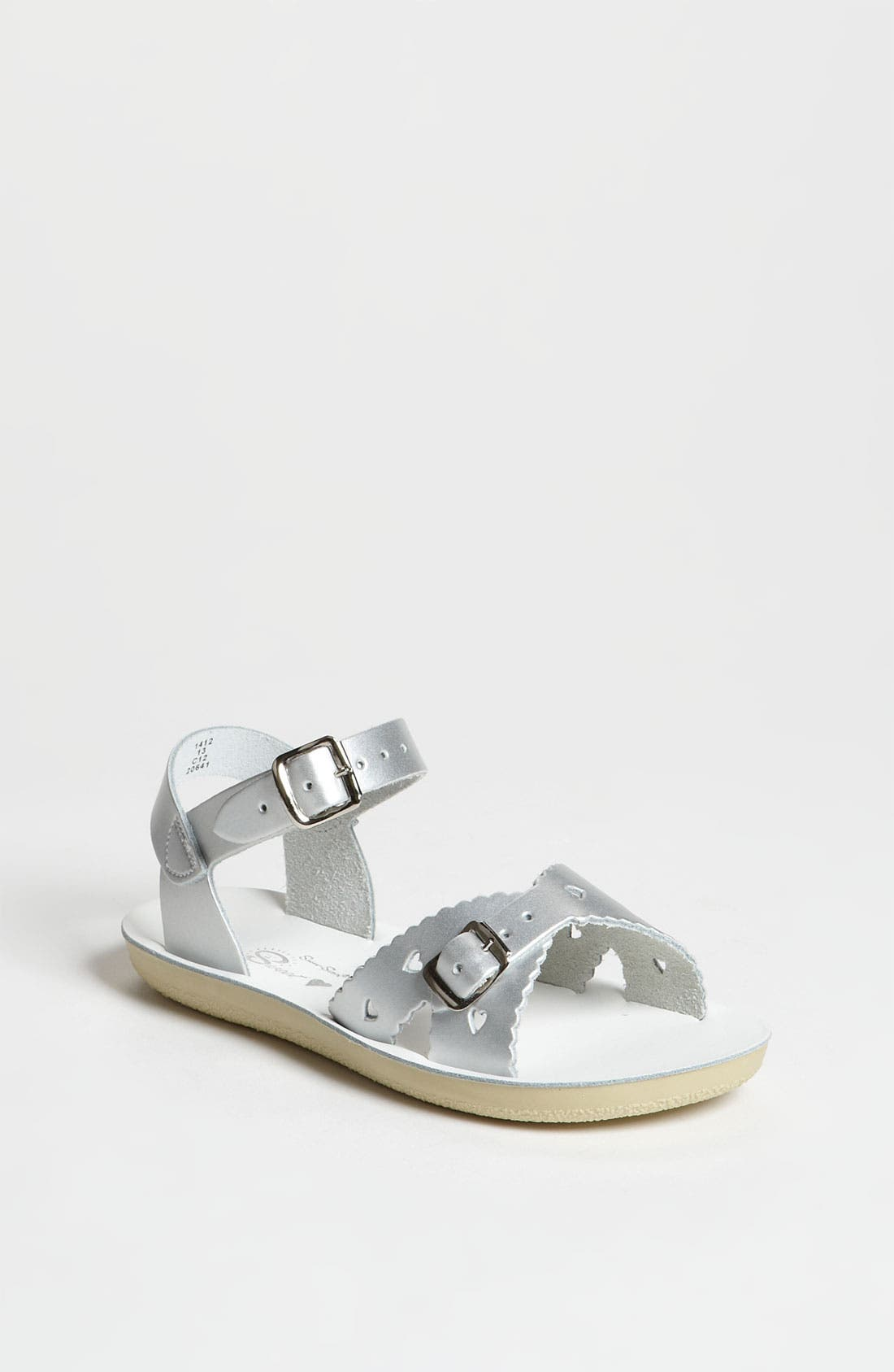 SALT WATER SANDALS BY HOY, Sweetheart Sandal, Main thumbnail 1, color, SILVER