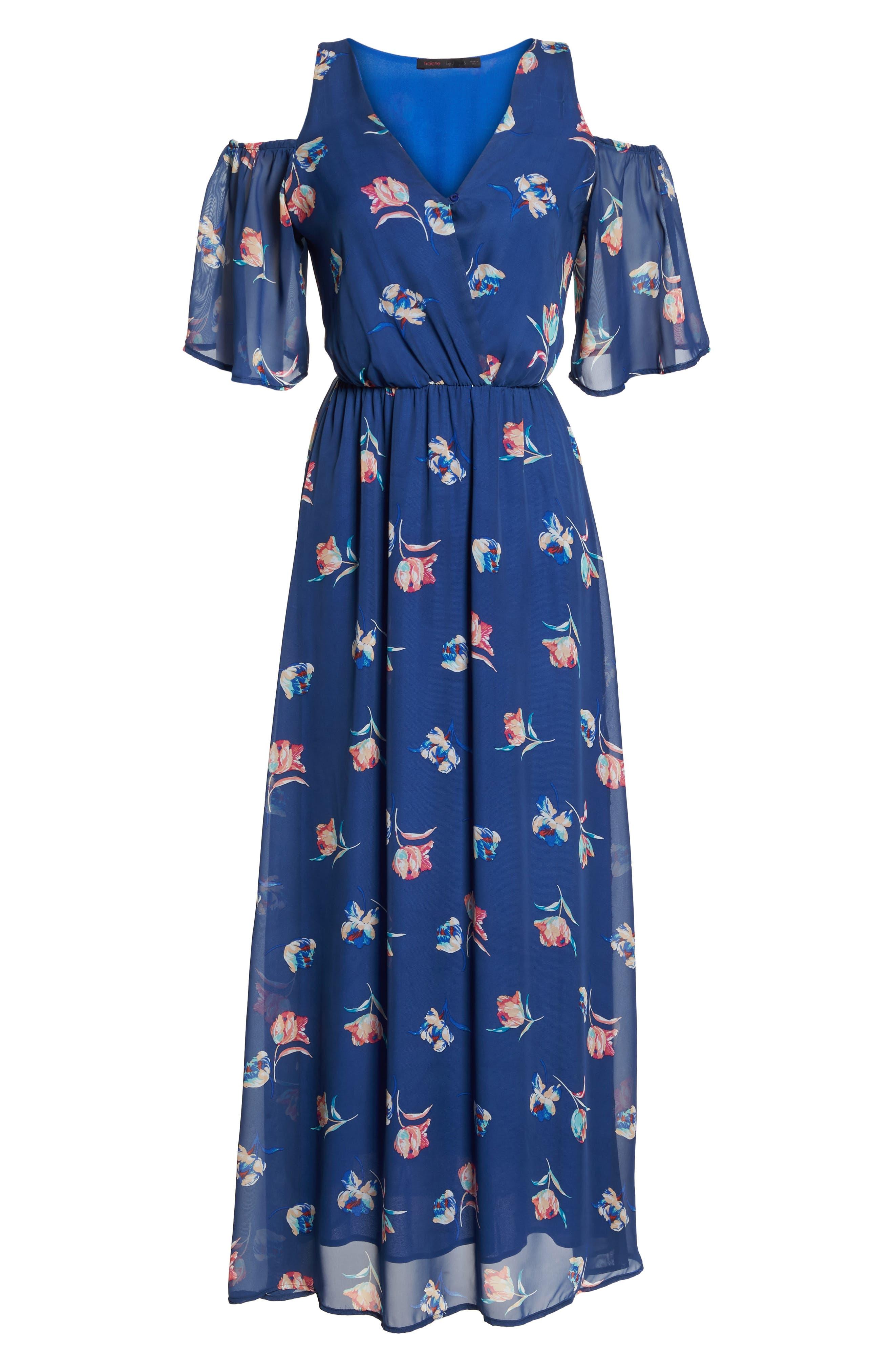 FRAICHE BY J, Cold Shoulder Maxi Dress, Alternate thumbnail 7, color, CASSY BLUE