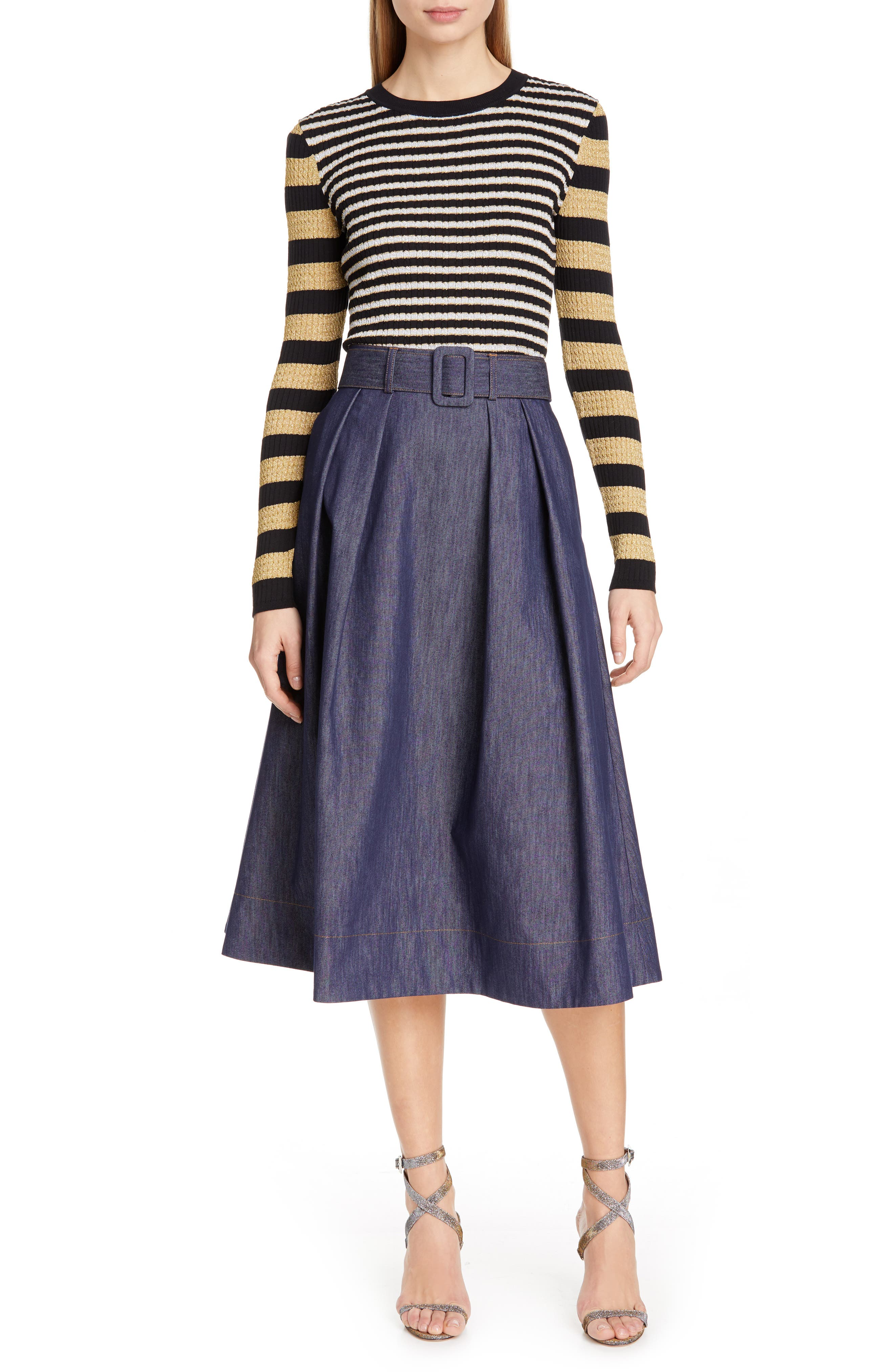 TOMMY X ZENDAYA, Metallic Stripe Knit Top, Alternate thumbnail 7, color, BLACK BEAUTY MULTI