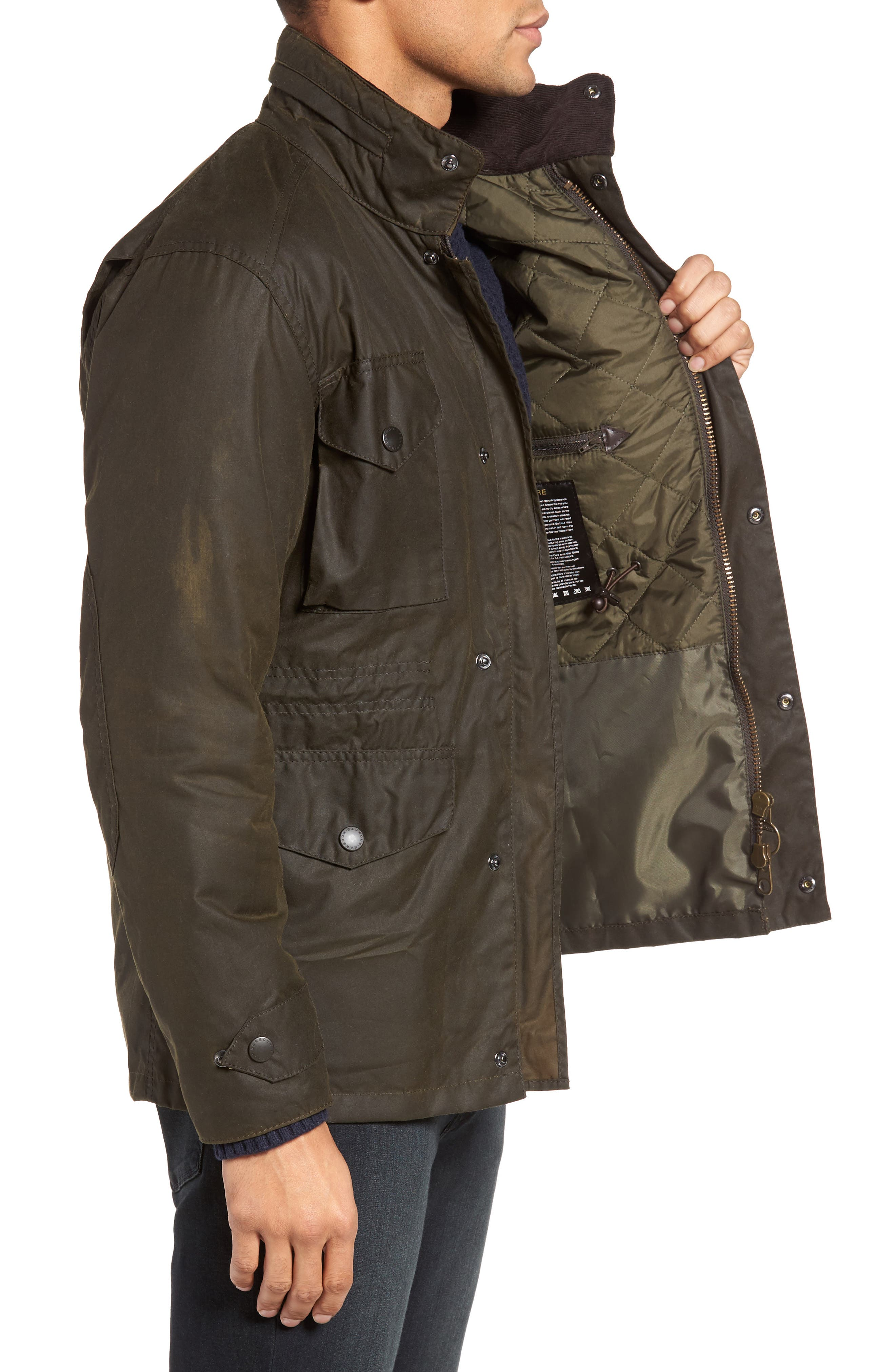 BARBOUR, Sapper Regular Fit Weatherproof Waxed Cotton Jacket, Alternate thumbnail 4, color, OLIVE