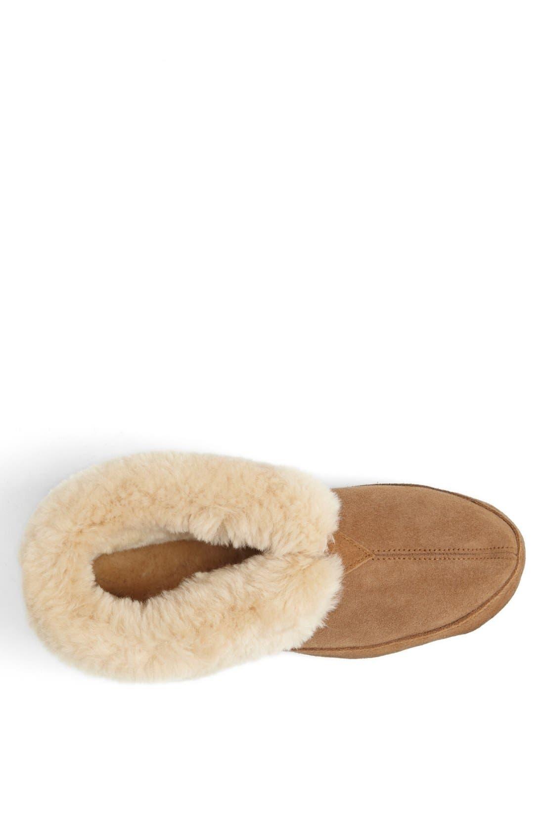 ACORN, Genuine Sheepskin Slipper, Alternate thumbnail 4, color, WALNUT