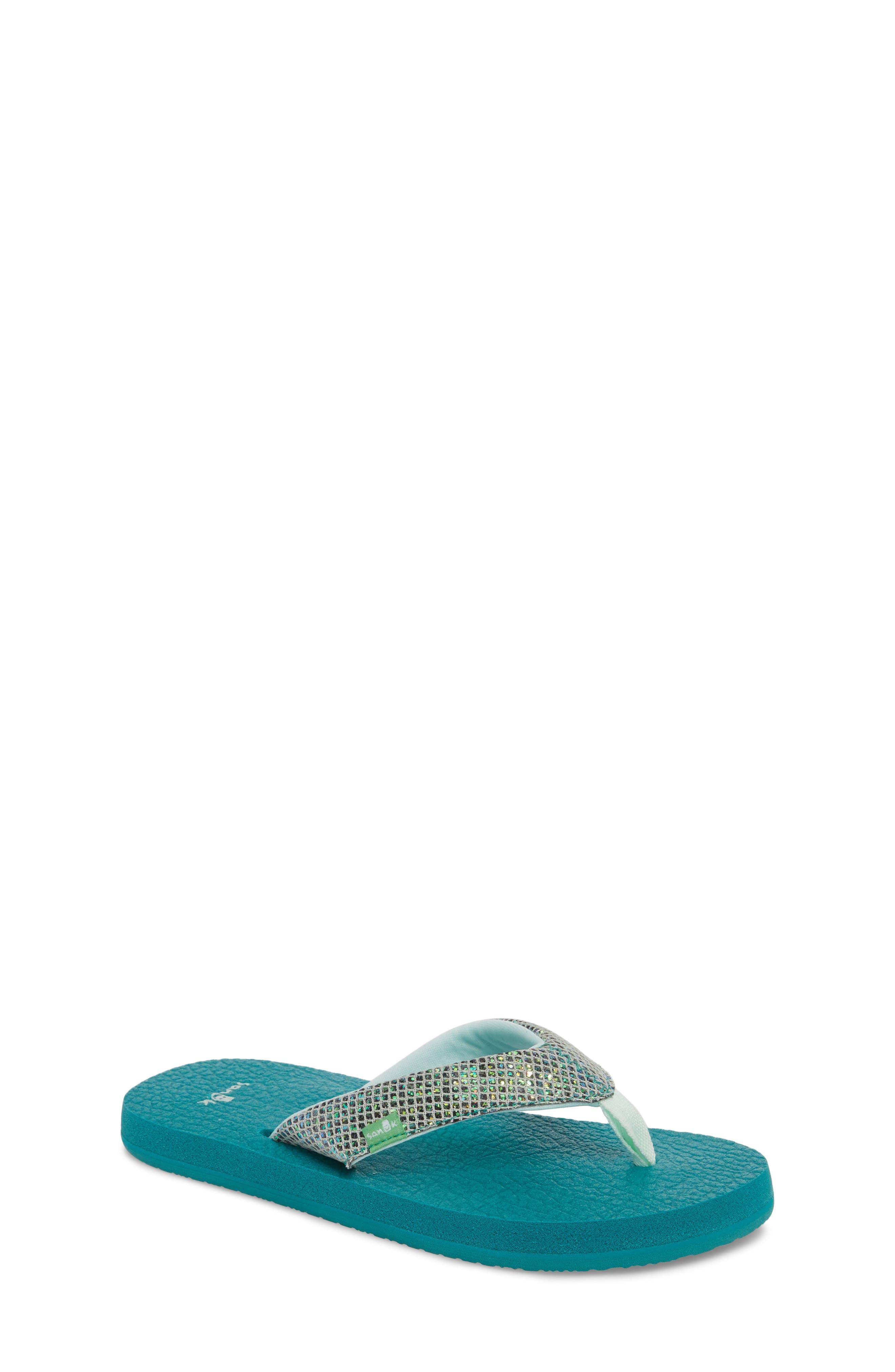 SANUK 'Yoga' Glitter Sandal, Main, color, SEA GREEN