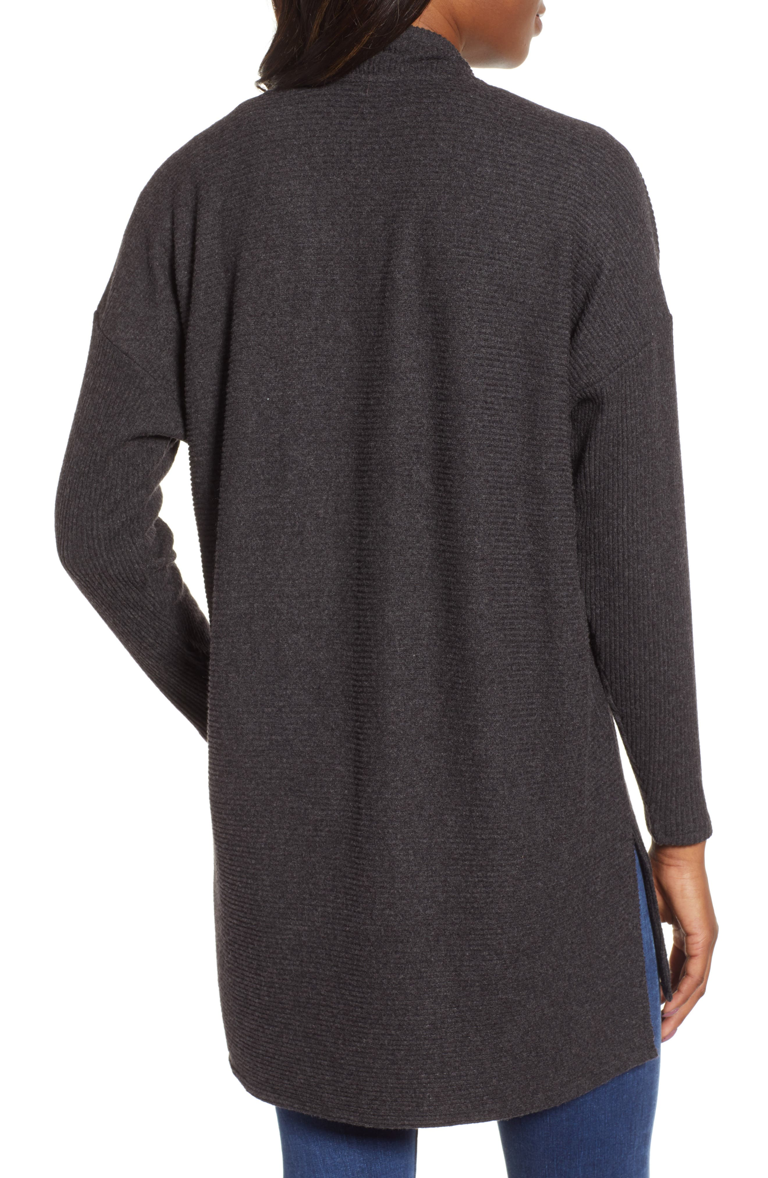 WIT & WISDOM, Ribbed Open Cardigan, Alternate thumbnail 2, color, CHARCOAL