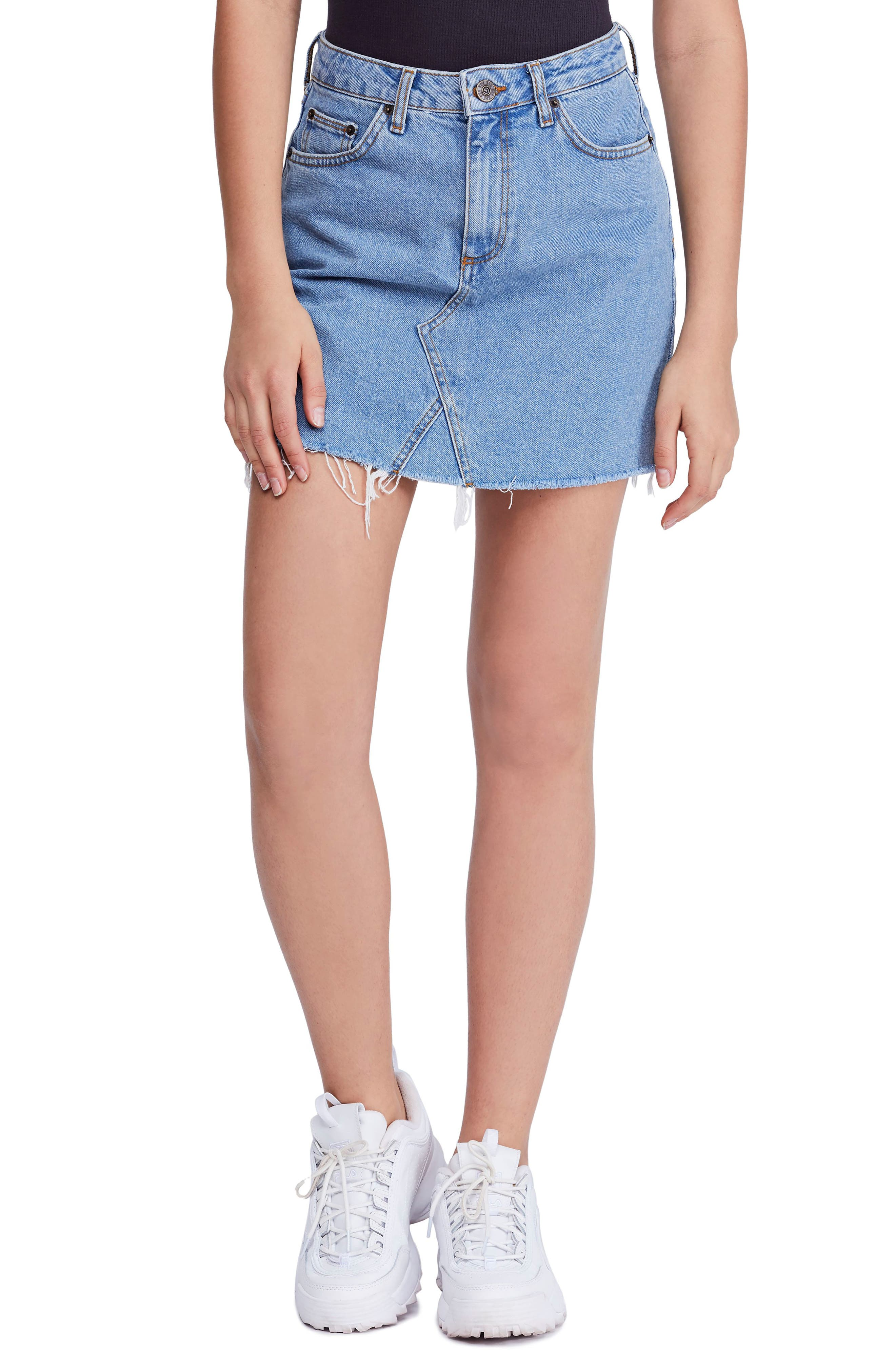 BDG, Urban Outfitters Denim Raw Edge Miniskirt, Main thumbnail 1, color, 400