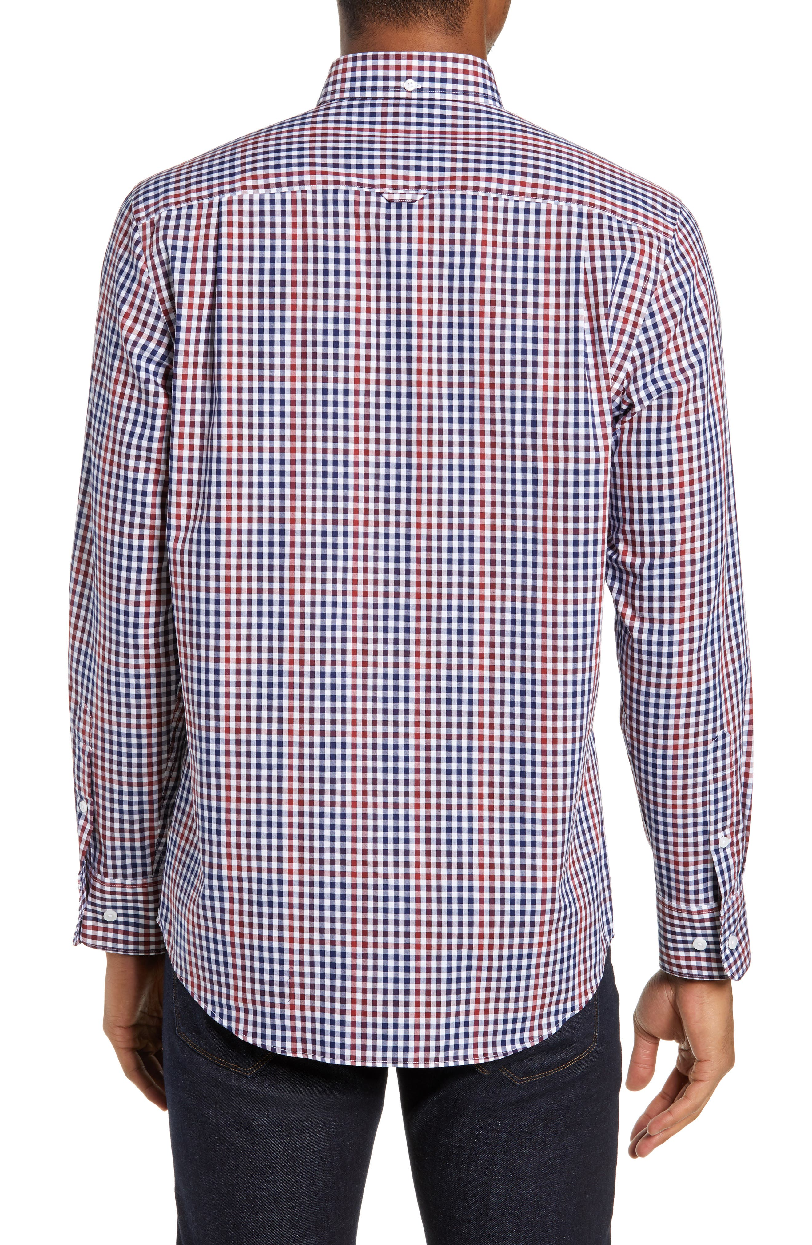 NORDSTROM MEN'S SHOP, Slim Fit Non-Iron Gingham Sport Shirt, Alternate thumbnail 2, color, 610