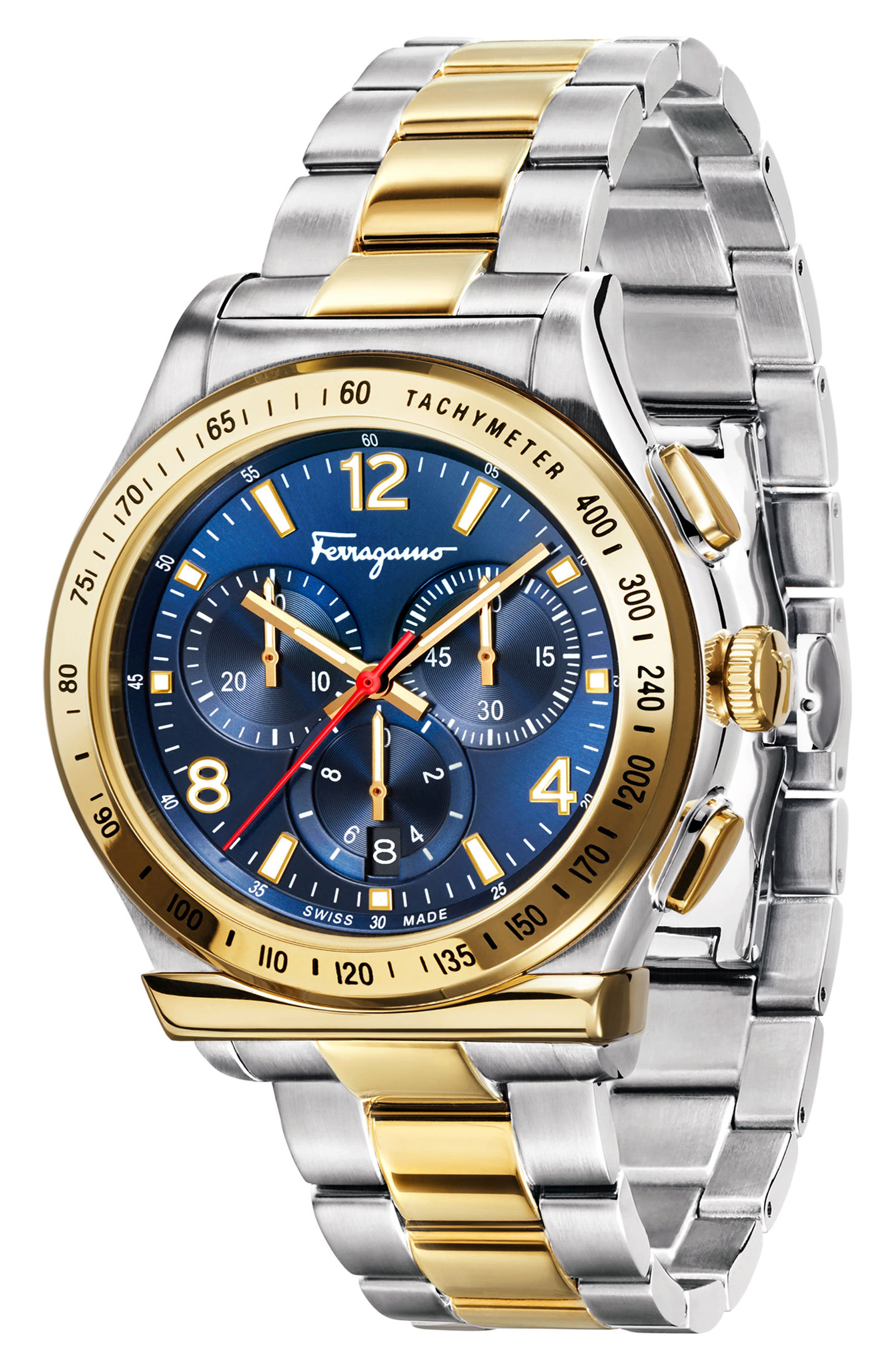 SALVATORE FERRAGAMO, 1898 Chronograph Bracelet Watch, 42mm, Alternate thumbnail 4, color, SILVER/ BLUE/ GOLD