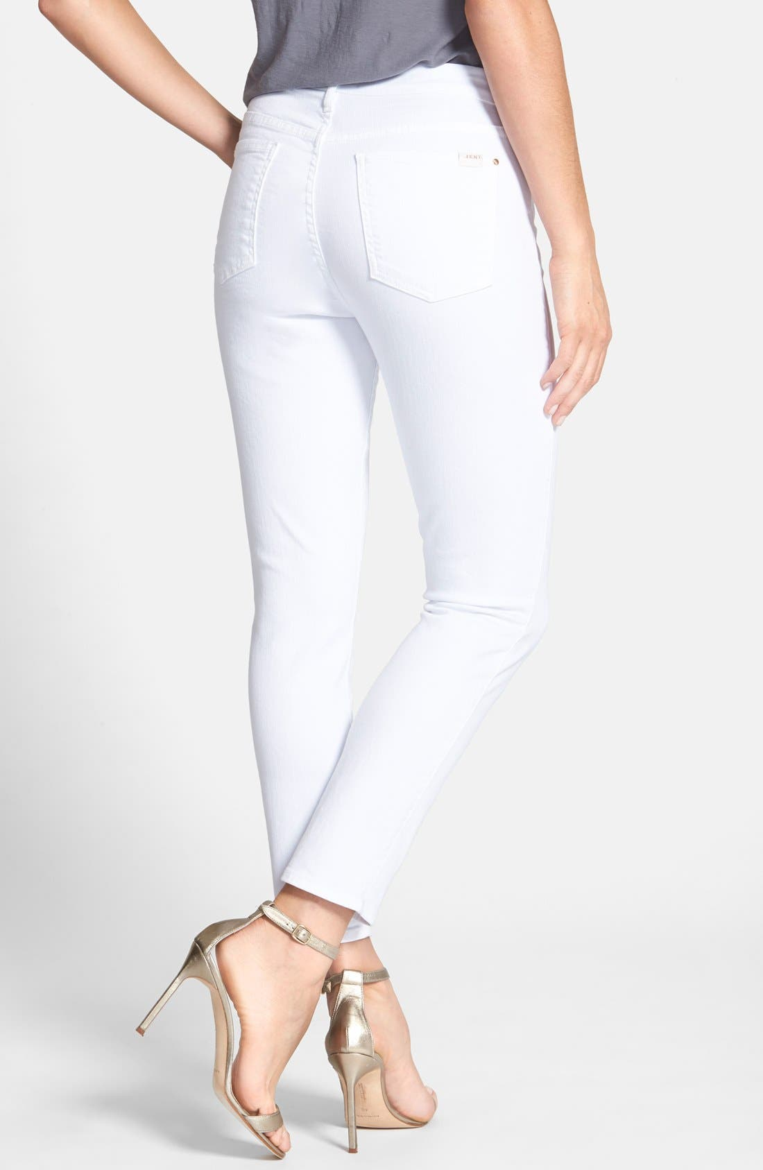 JEN7 BY 7 FOR ALL MANKIND, Stretch Crop Skinny Jeans, Alternate thumbnail 2, color, WHITE DENIM
