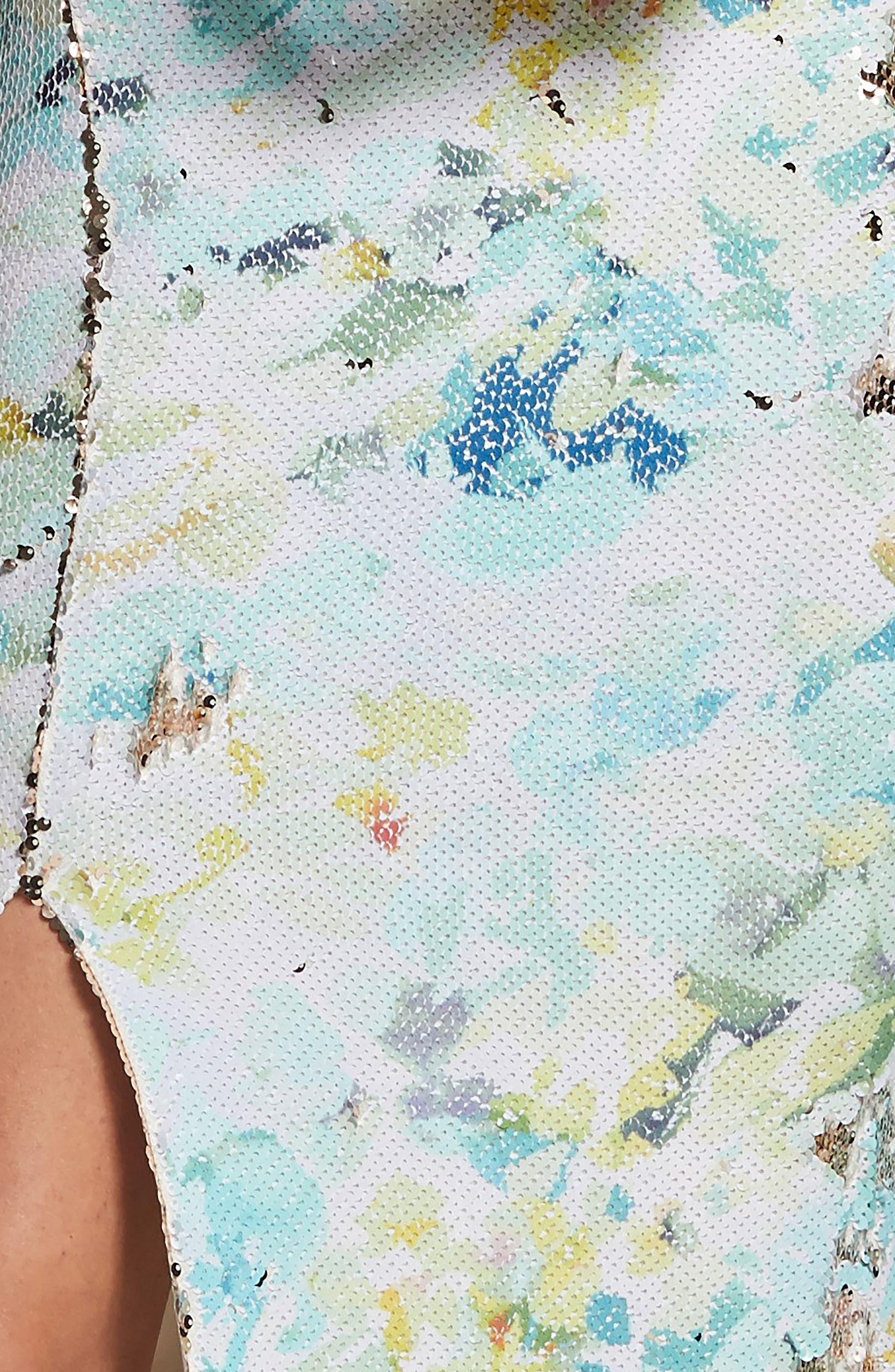DRESS THE POPULATION, Natalie Scoop Back Sequin Dress, Alternate thumbnail 6, color, IVORY/ SAGE/ GOLD